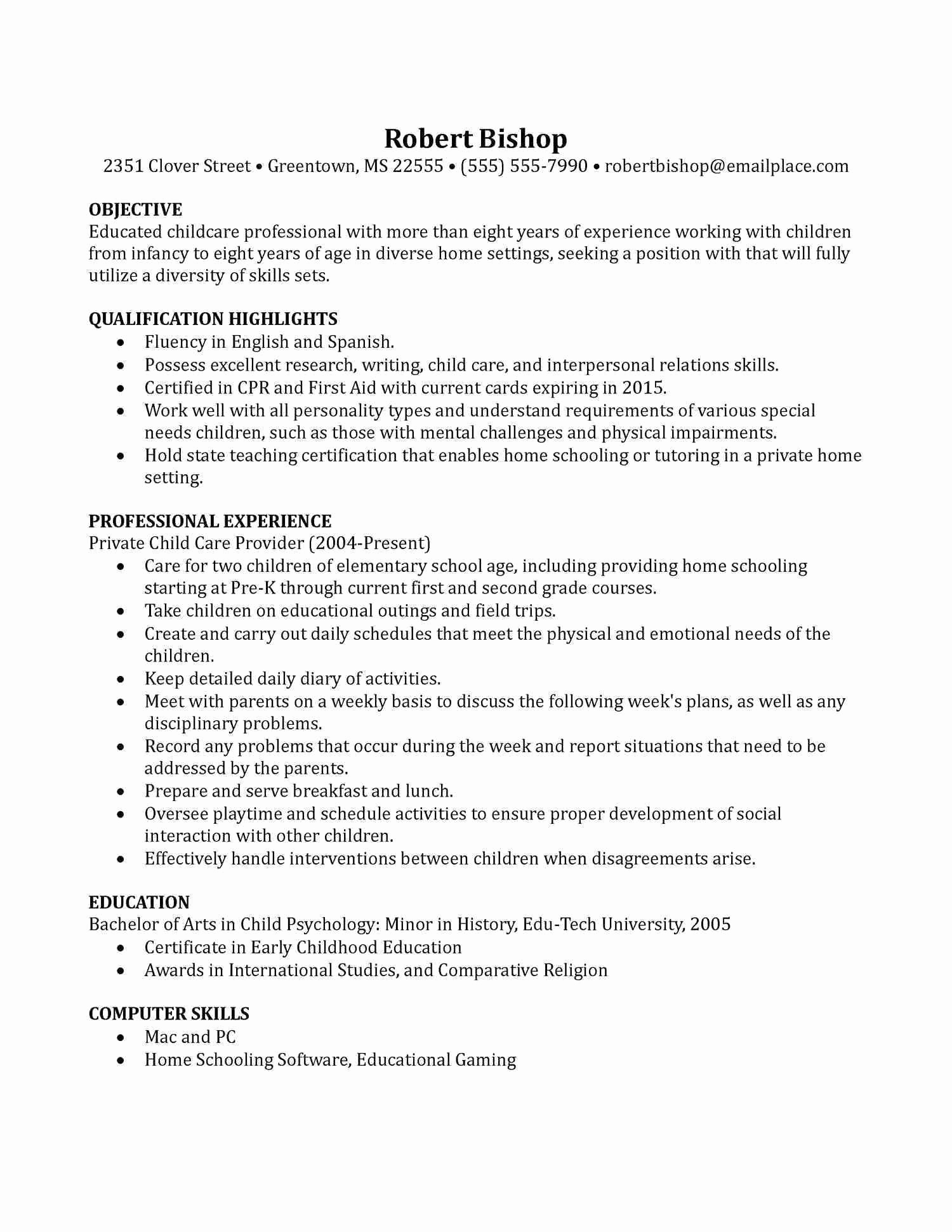 Child Care Resume - Child Care Resume Sample Awesome 30 Inspirational Daycare Resume