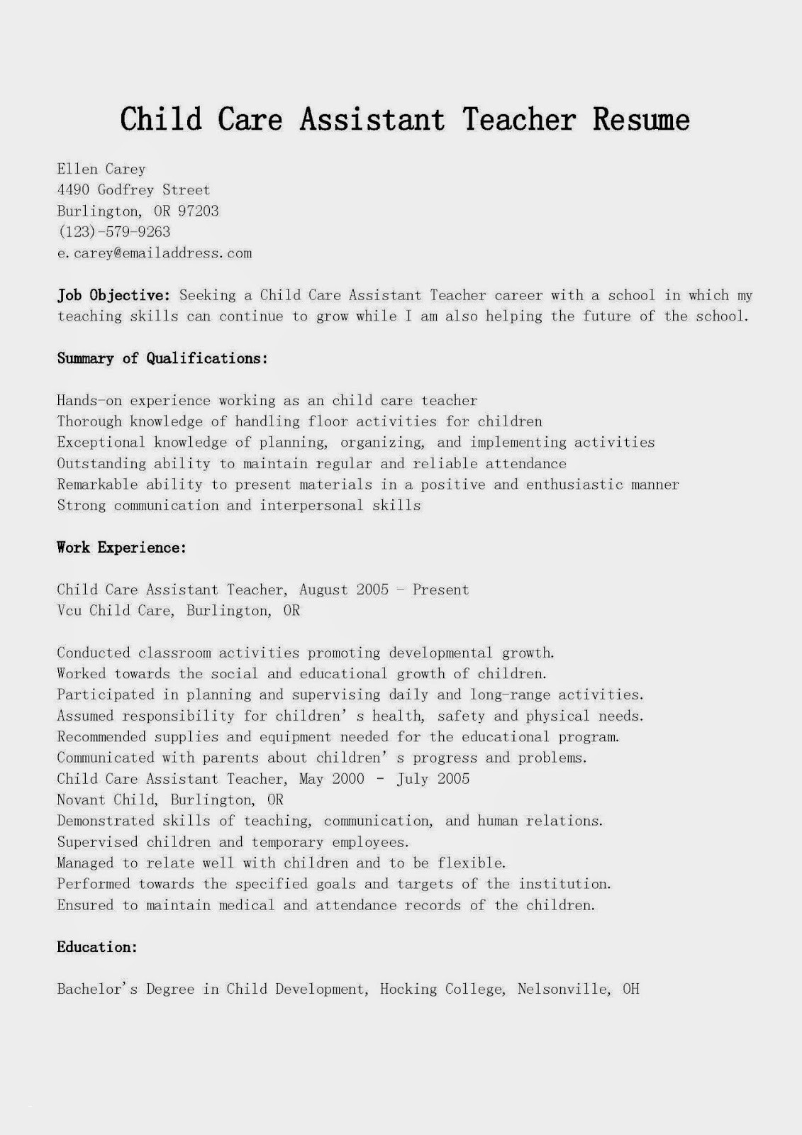 Child Care Resume Examples - Child Care Resume Examples Unique Child Care Resume Sample Unique