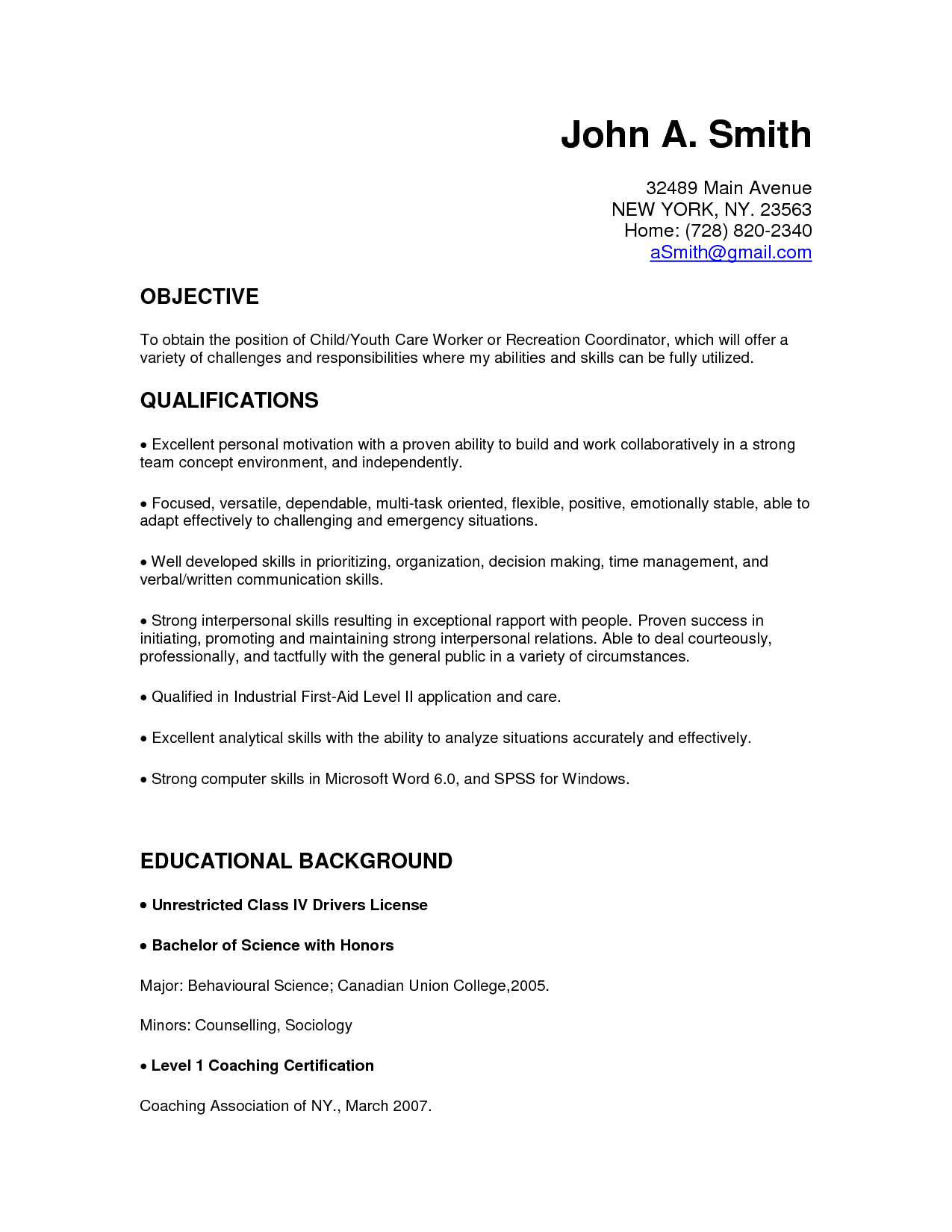 Child Care Resume Skills
