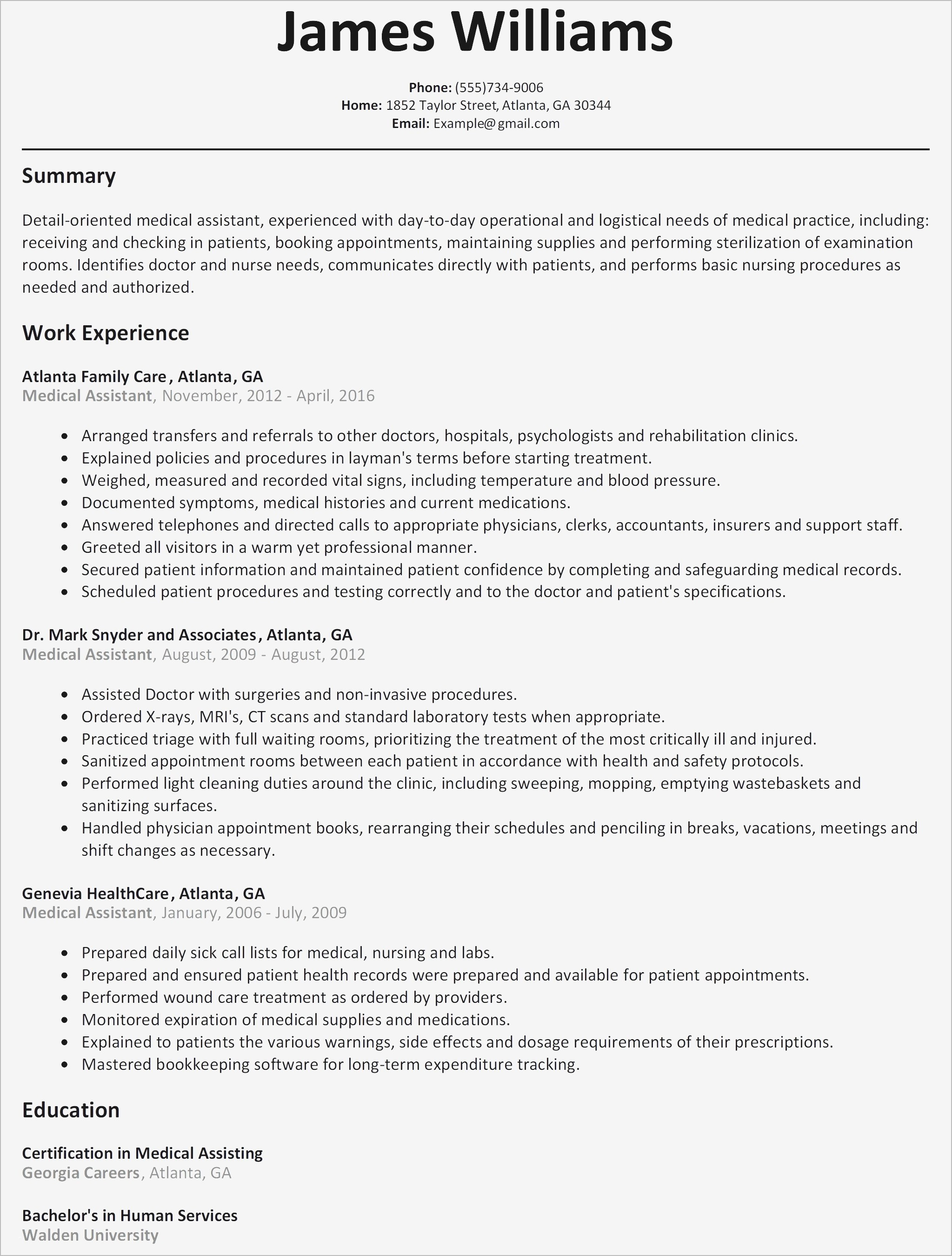 Child Care Resume Template - Elegant Resume Template Best Resume Medical assistant Elegant