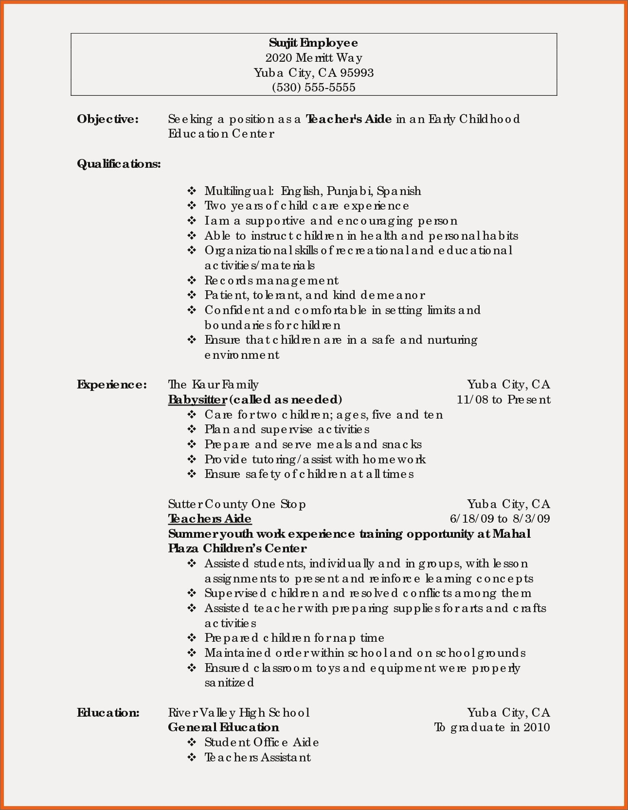 Child Care Skills for Resume - Early Childhood Education Resume Samples New Teacher Resume Example