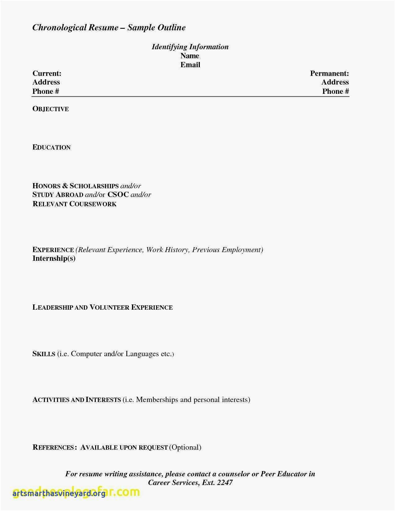 Chronological Resume Template 2018 - What Should Be A Resume for A Teenager Valid Unique Resume for