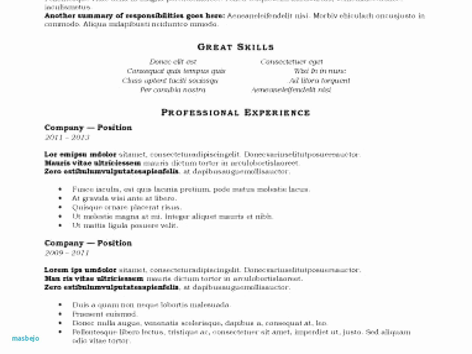 Chronological Resume Template Pdf - 38 Elegant Resume format Pdf