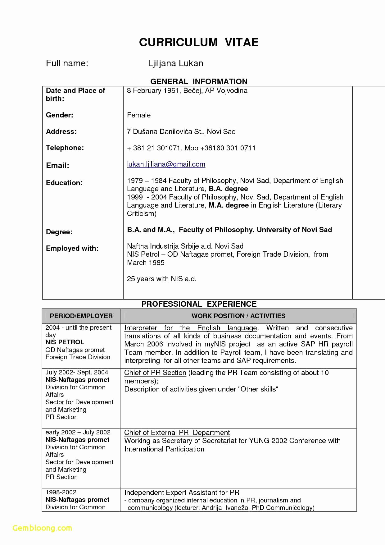 Chronological Resume Template Pdf - Resume format Chronological Best Sample Chronological Resume