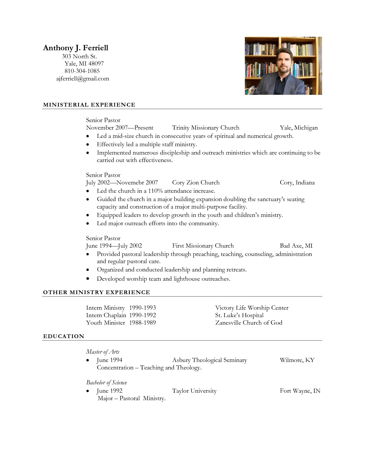 8 Church Resume Template Ideas