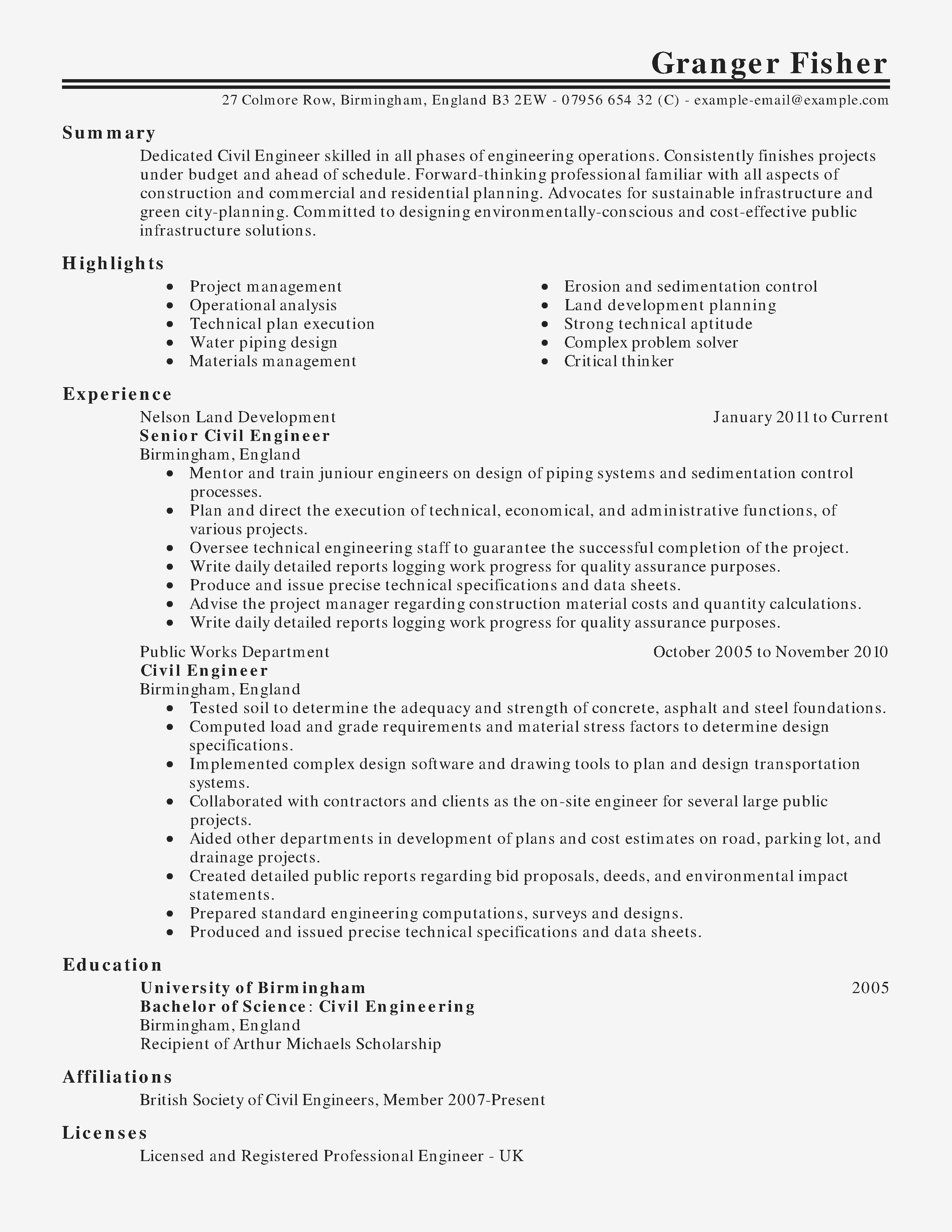 Civil Engineer Resume - Materials Engineer Cover Letter