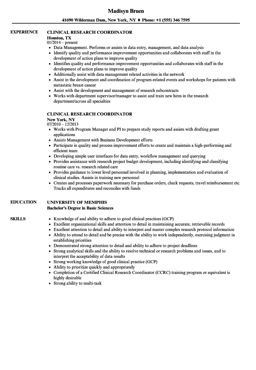 Clinical Research Coordinator Cv - Clinical Research Coordinator Resume Cmt sonabel