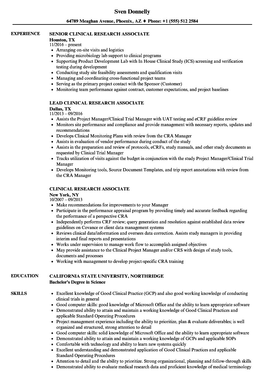 Clinical Research Coordinator Resume Sample - Clinical Research associate Resume Cmt sonabel