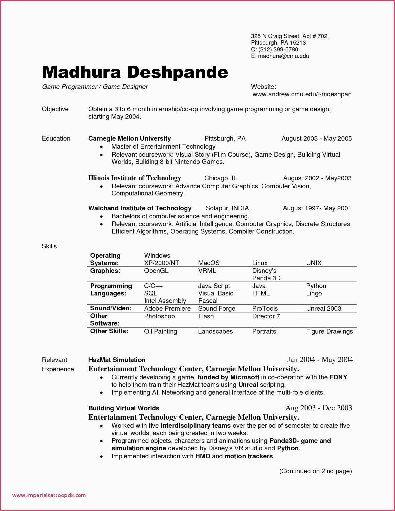 Cmu Resume Template - Resume Sample for Fresh Graduate Puter Science Example Resume