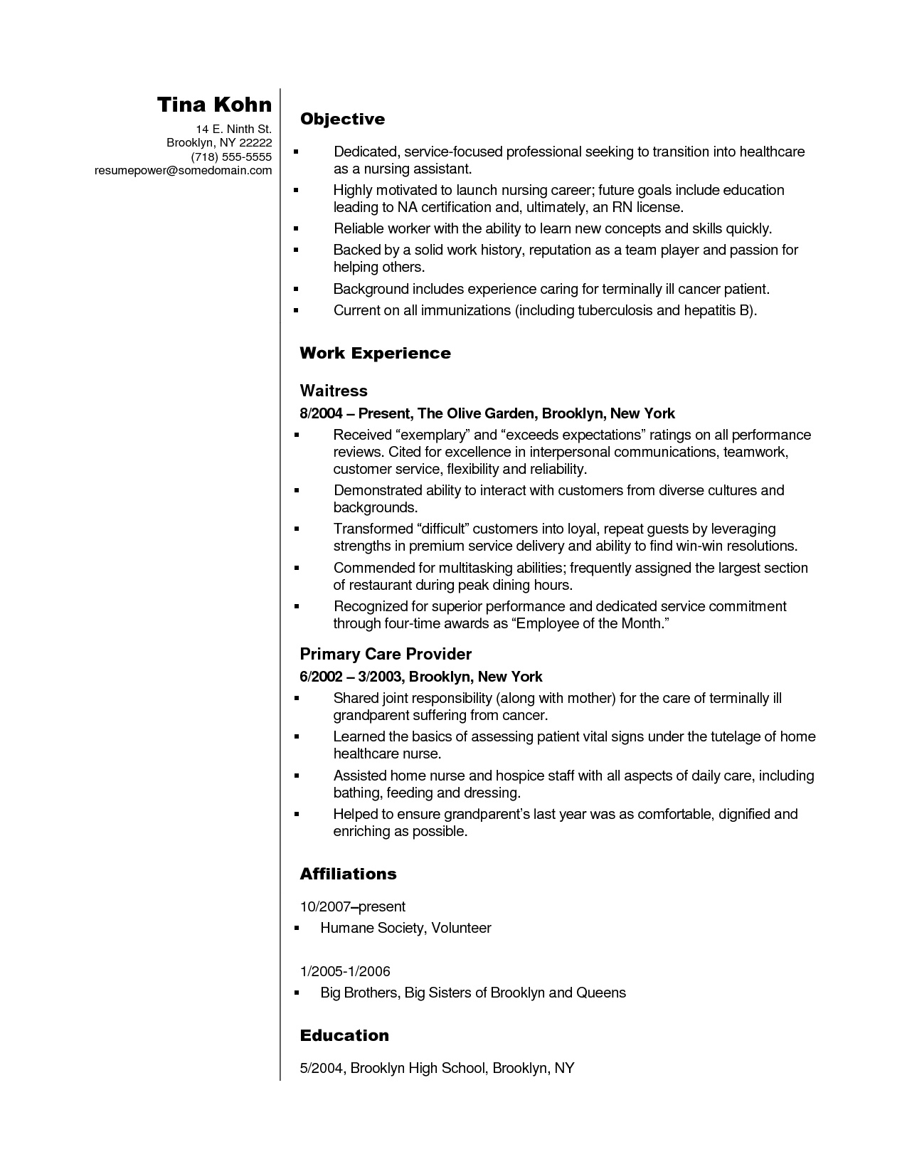 Cna Resume No Experience - Nursing assistant Resume Objective Examples Fresh Cna Resume Sample