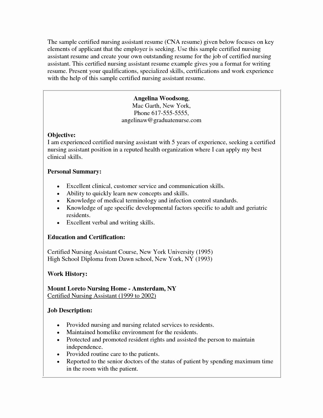 Cna Resume Objective - Cna Resume Examples New Resume Sites Fresh Free Resume Examples