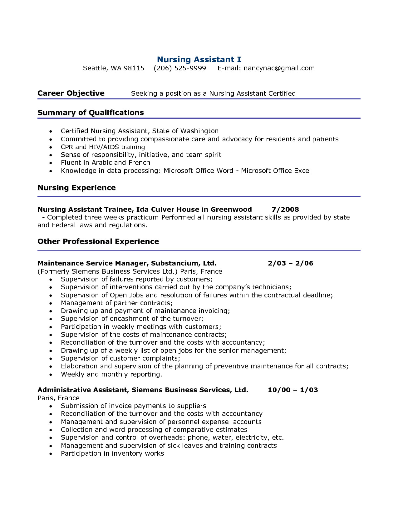 Cna Resume Objective - 48 Awesome Cna Resume Sample
