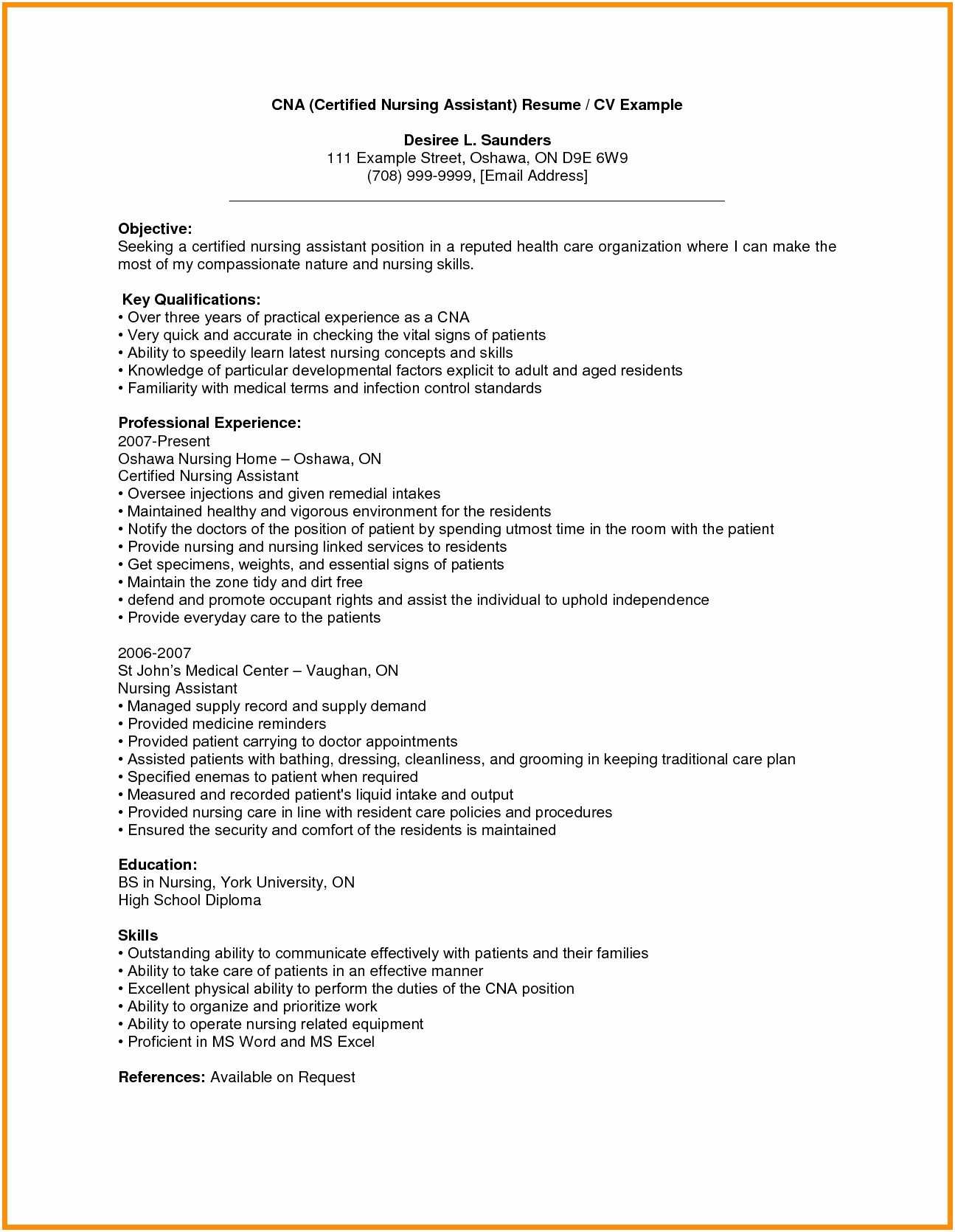 Cna Resume Objective - Resume Sample Objectives Patient Care assistant Resume Objective