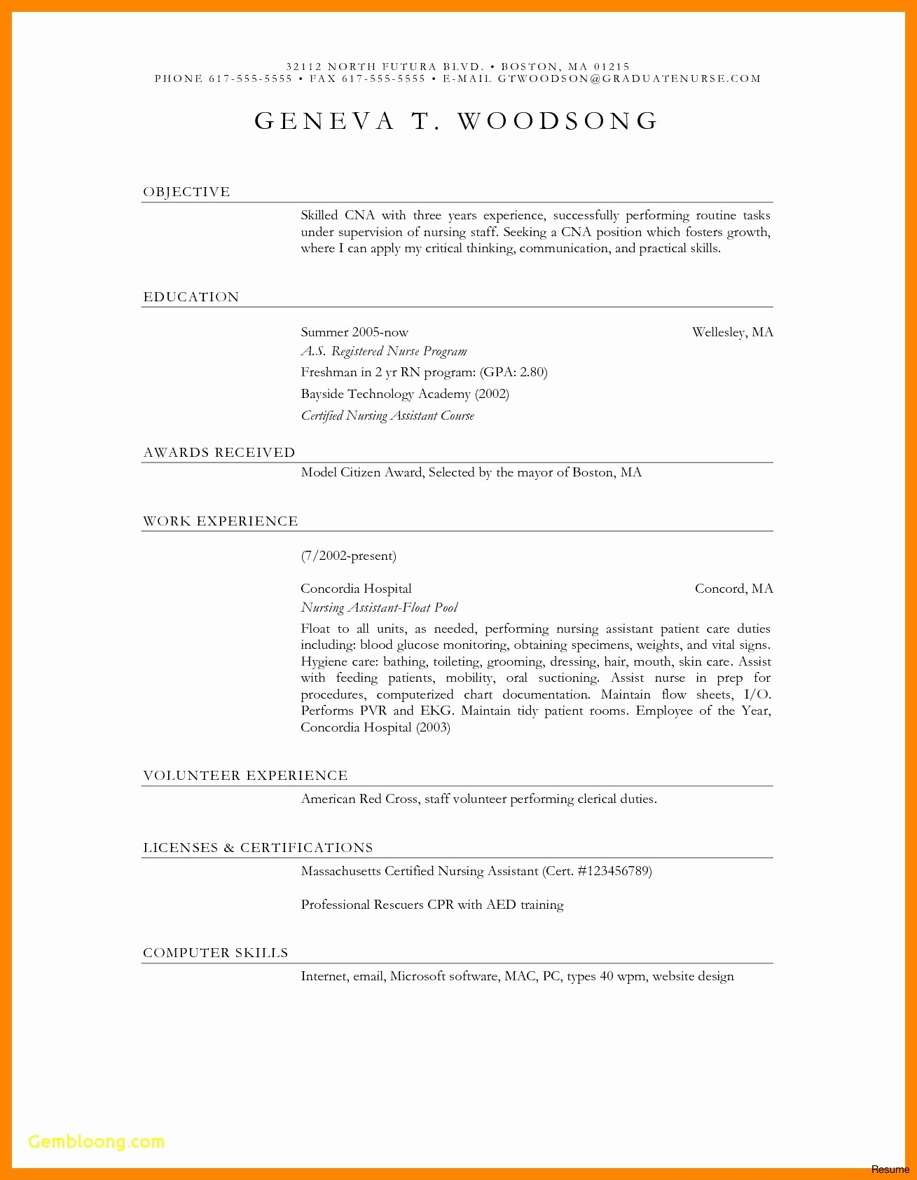 Cna Resume Template Microsoft Word - Cna Resume Examples Elegant Best 36 Cna Resume for Hospital How to