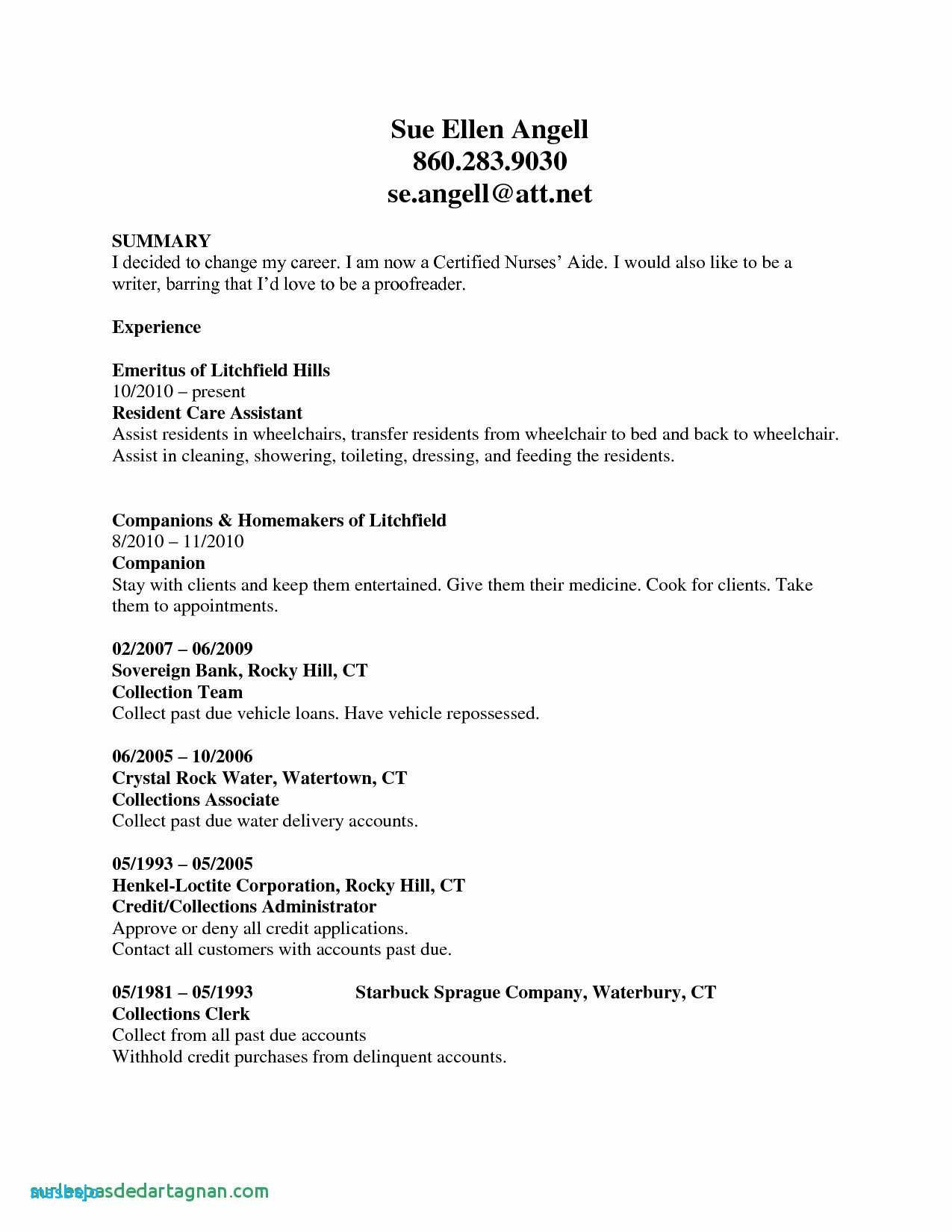 Cna Resumes with No Experience - Sample Resume for Cna with No Previous Experience Valid Resume