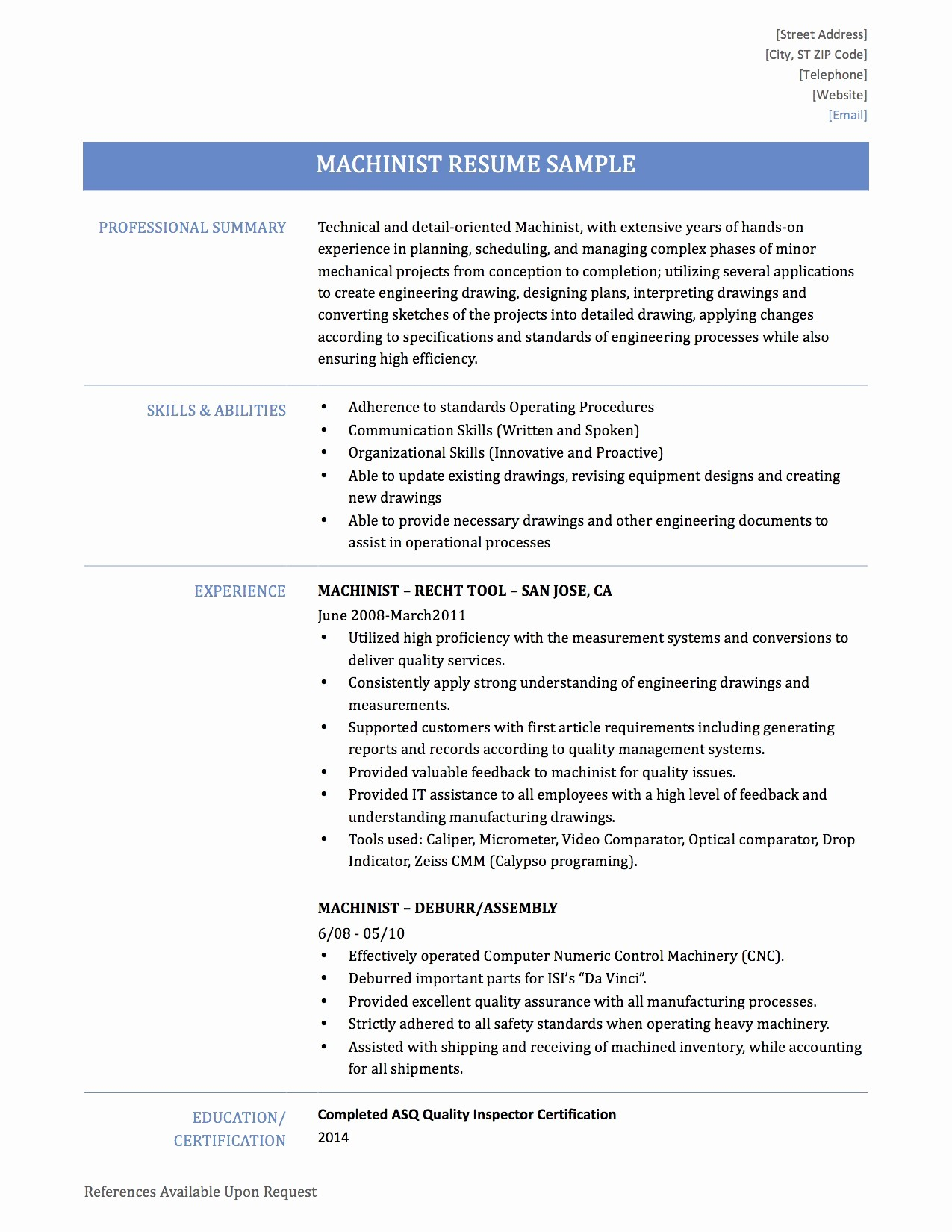 Cnc Machinist Resume - 25 Cnc Machinist Resume