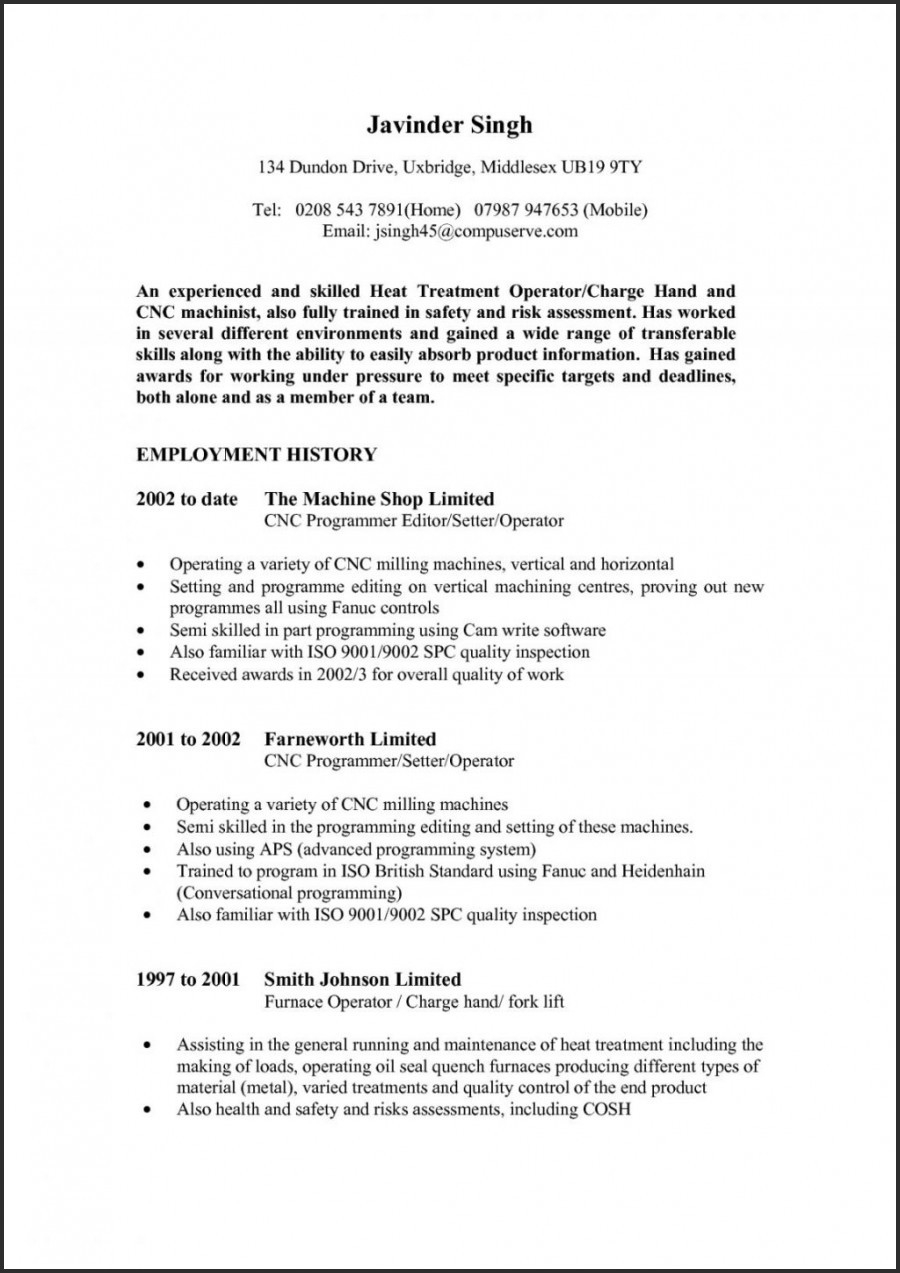 Cnc Machinist Resume - Cnc Machinist Resume Fresh Resume Templates Free Resume Templates