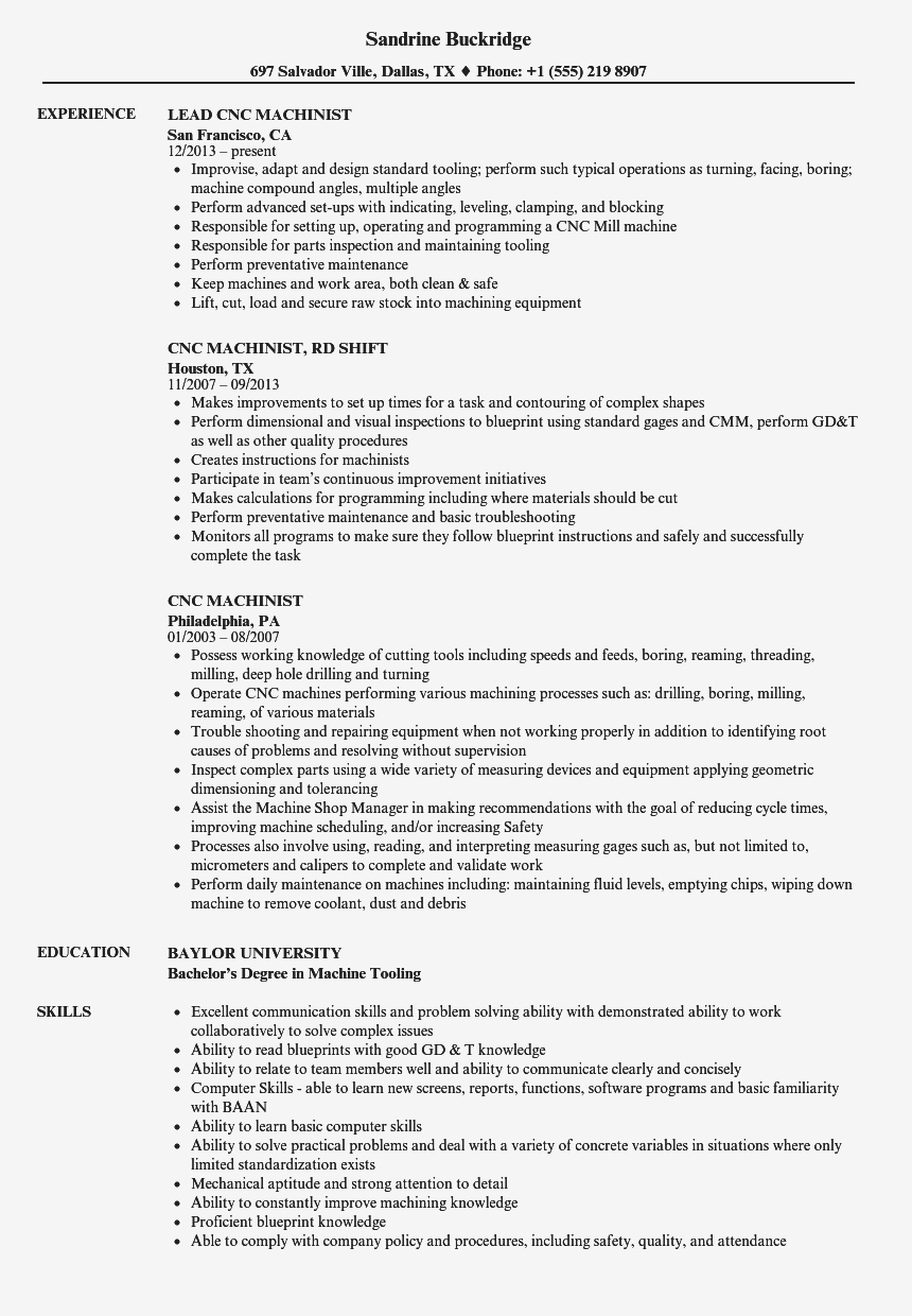 Cnc Machinist Resume - Cnc Operator Resume Sample