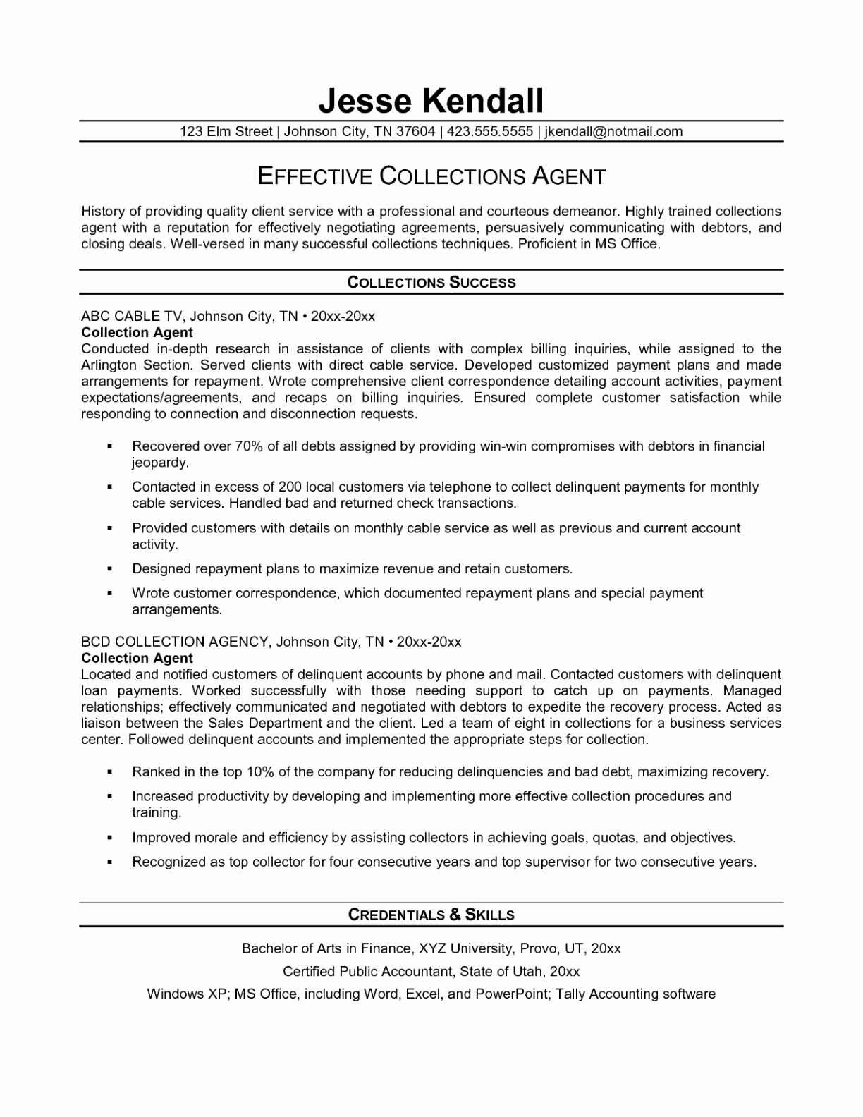 Collection Specialist Resume - Collection Specialist Refrence 11 Present Credit and Collection