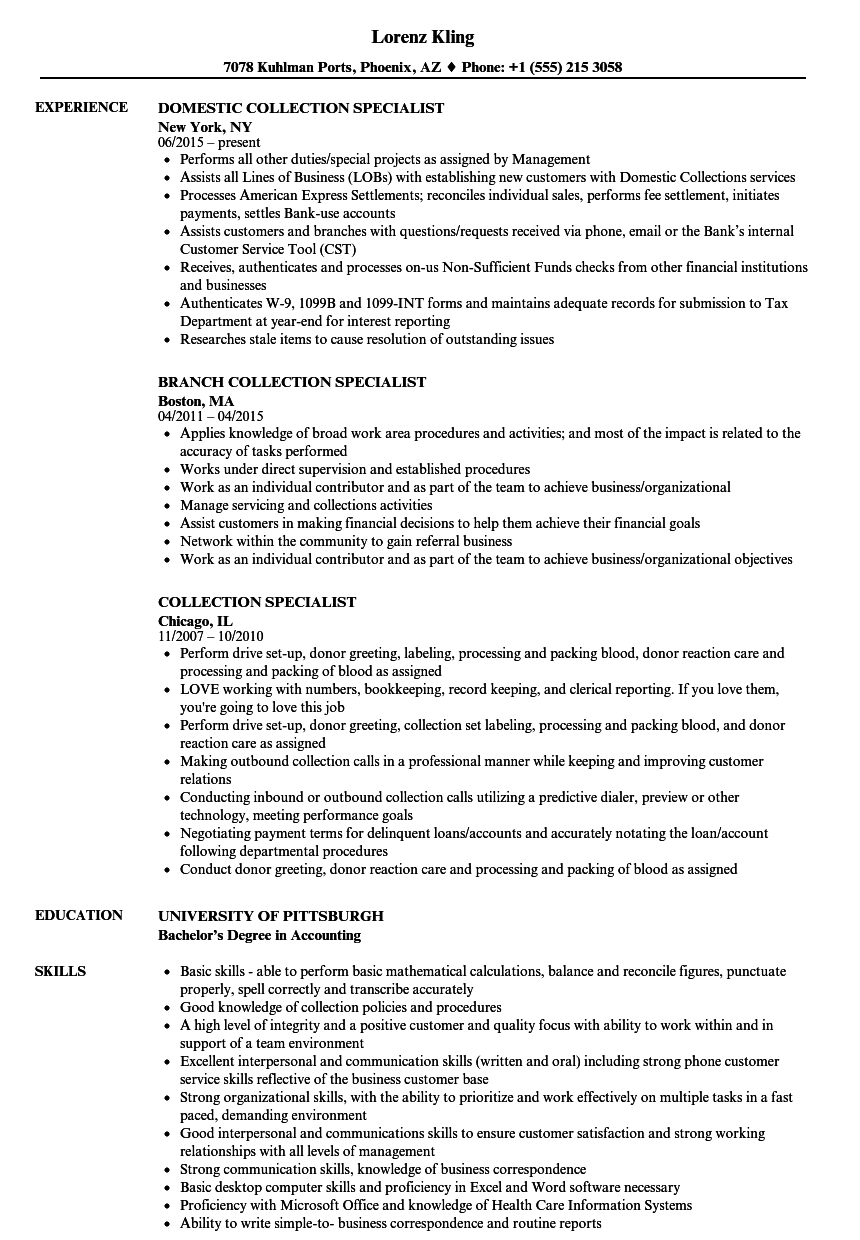 collection specialist resume example-Download Collection Specialist Resume Sample as Image file 2-i