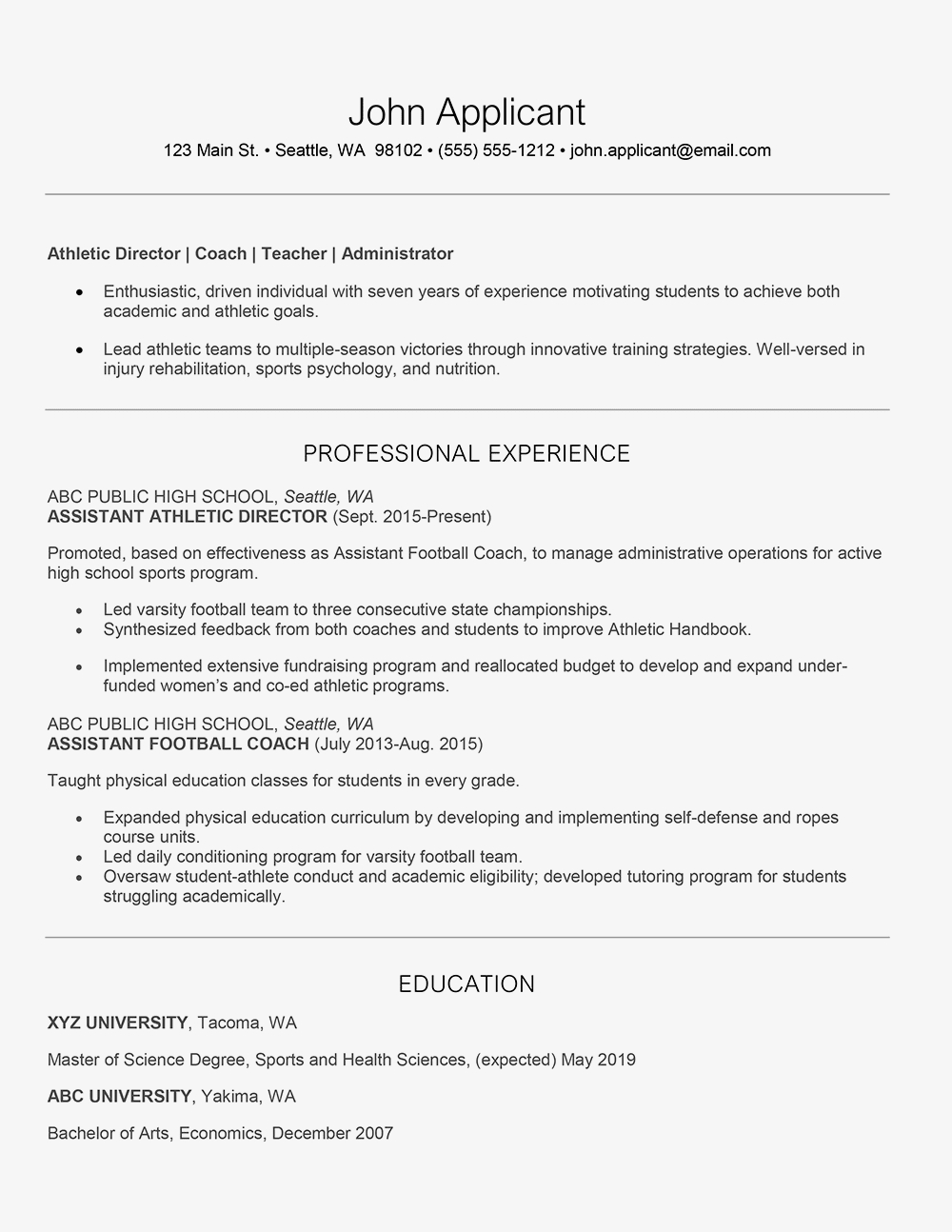 College athletic Resume Template - athletic Director Cover Letter and Resume Examples