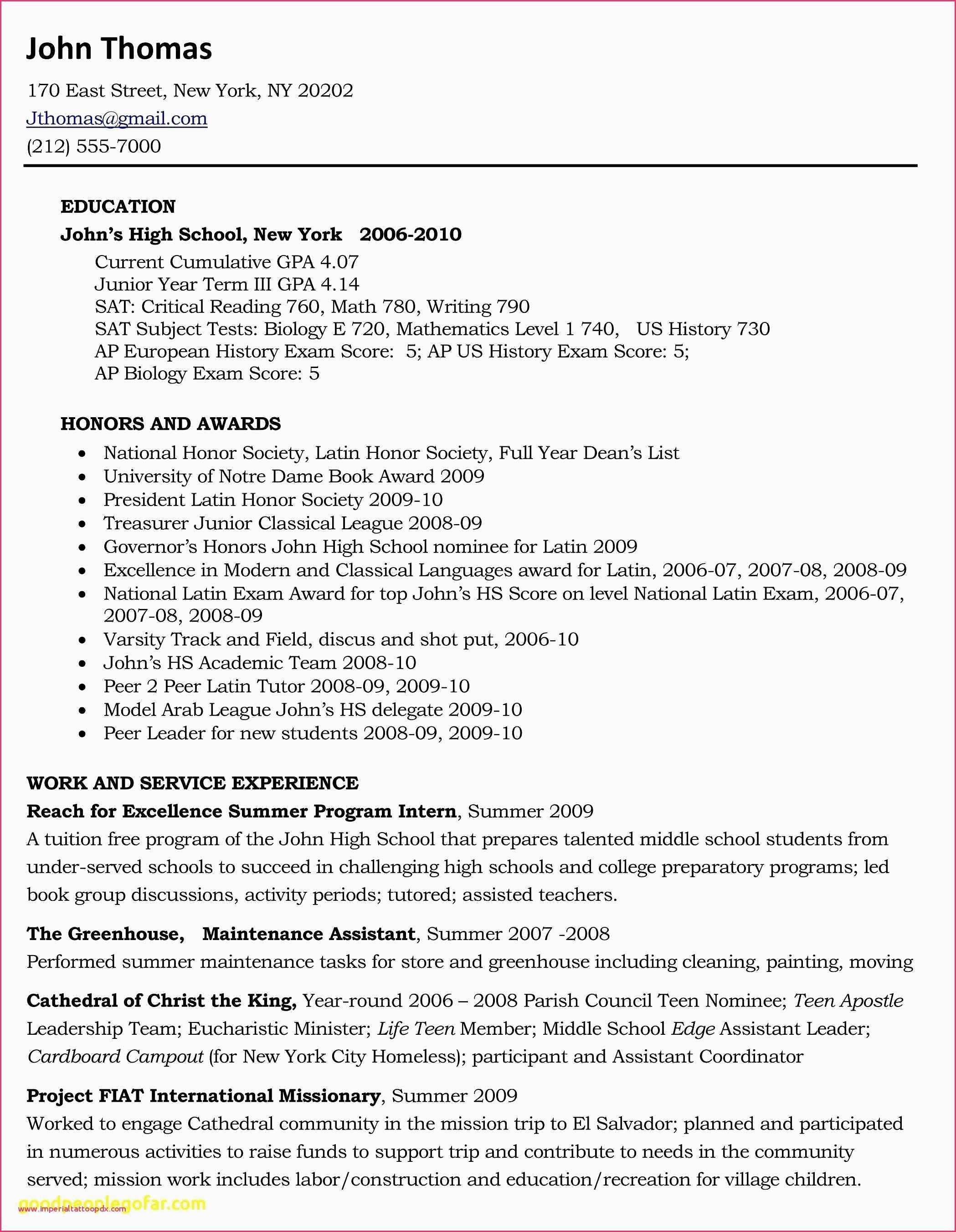 College Resume for High School Seniors - Sample College Resume High School Senior New Resume Example for