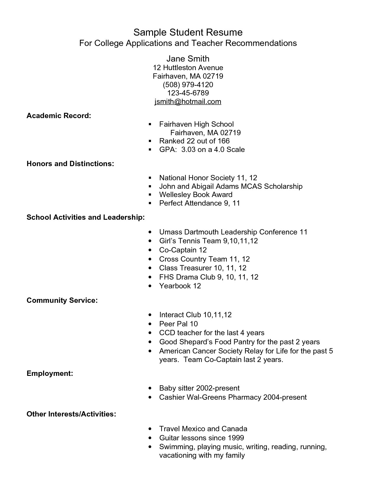 College Resume for High School Seniors - High School Student Resume format New Example Resume for High School