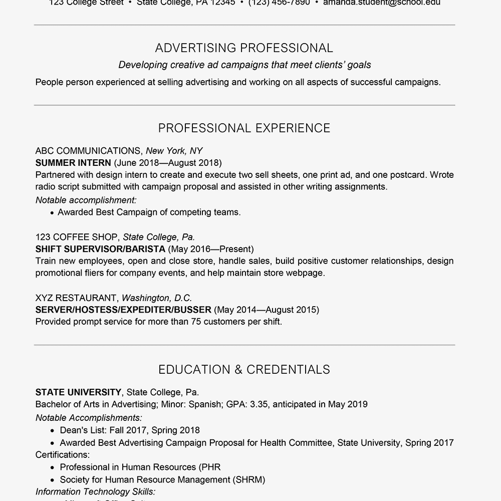 College Student Resume for Internship - College Student Resume Example