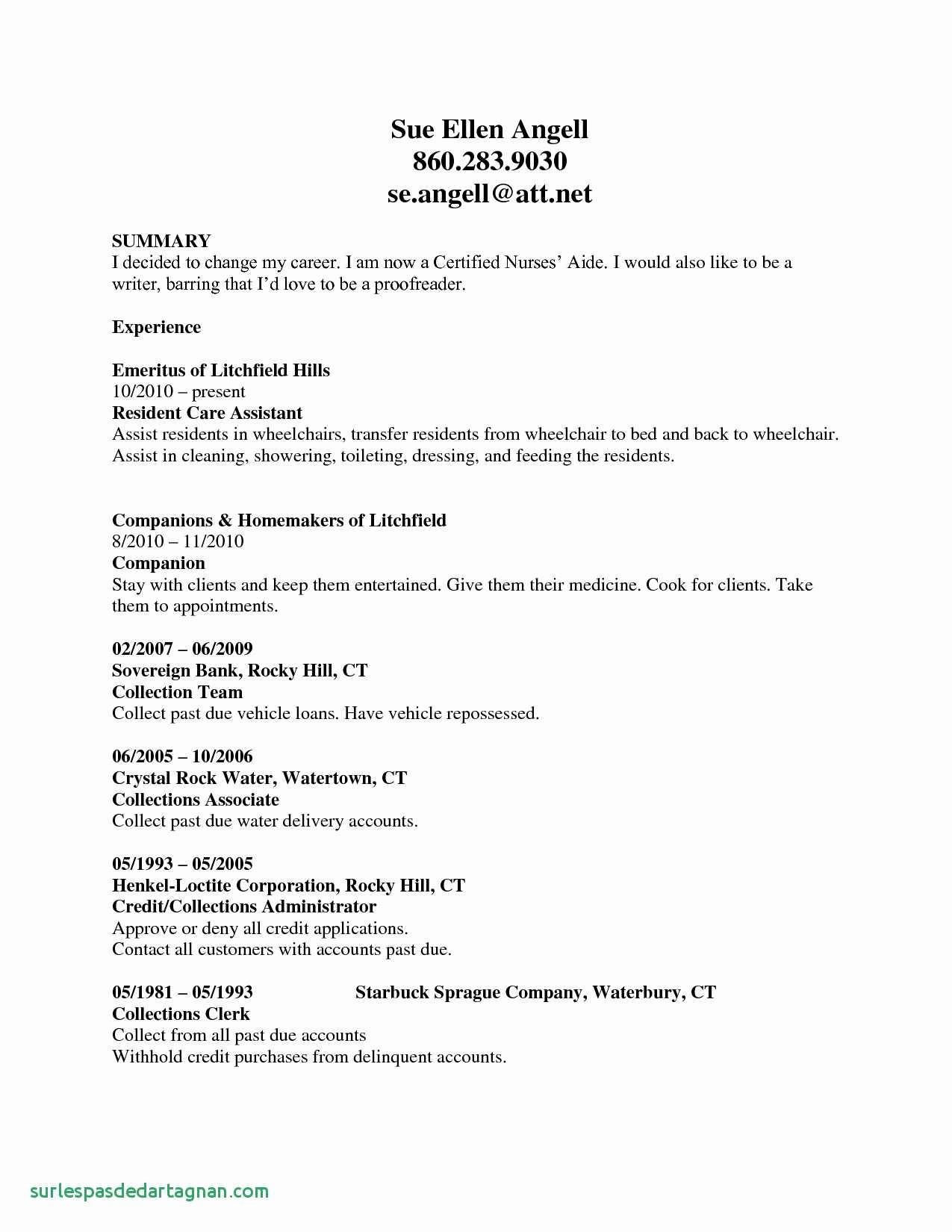 College Transfer Resume - Entry Level Cna Resume Inspirationa Cna Resume for Hospital Good Rn