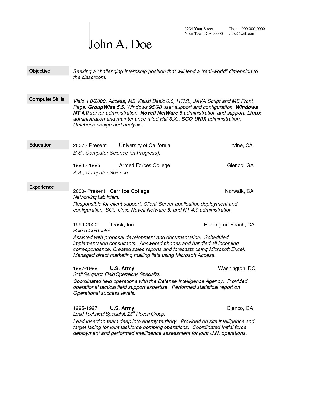 Computer Science Resume Internship - Awesome Omputer Science Resume Example