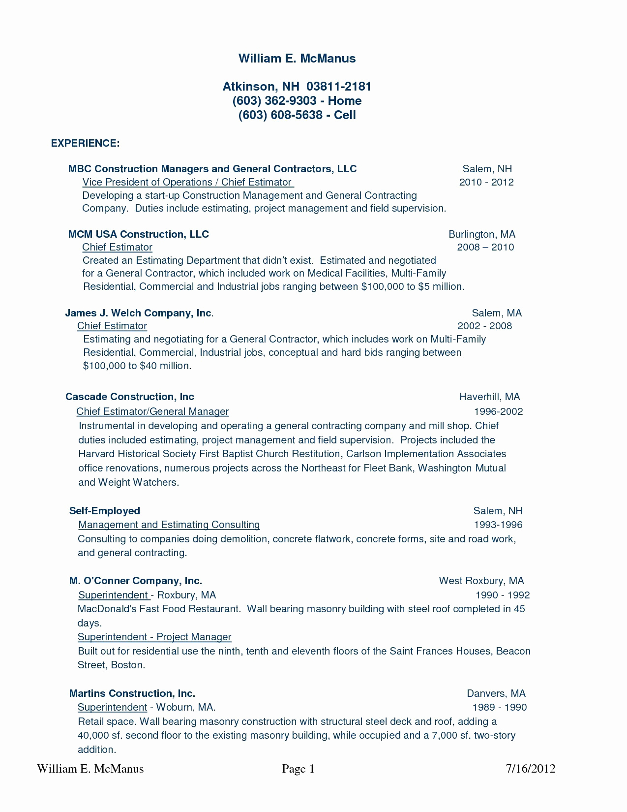 Construction Manager Resume - Construction Manager Pros and Cons