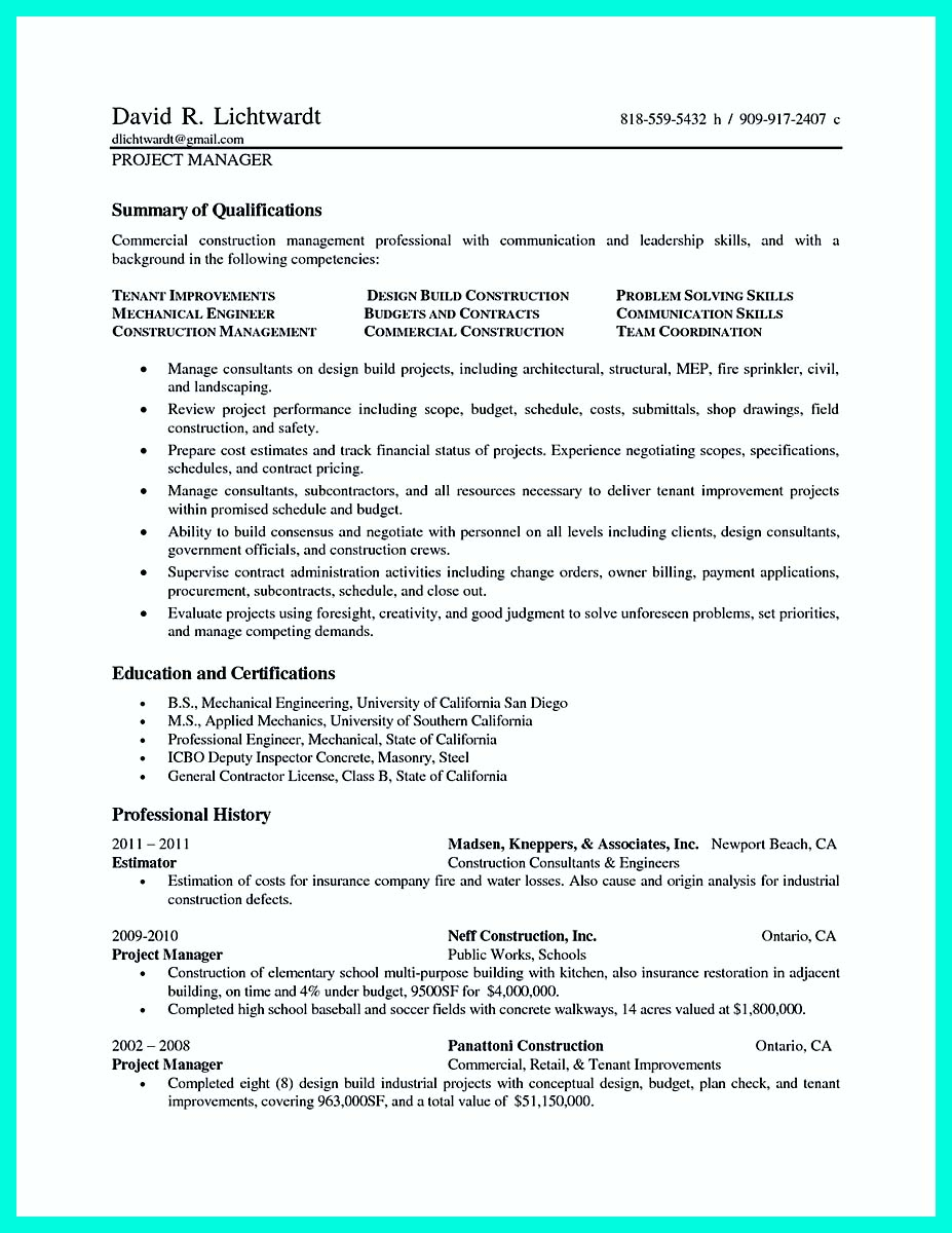 Construction Project Manager Resume Template - assistant Project Manager Resume