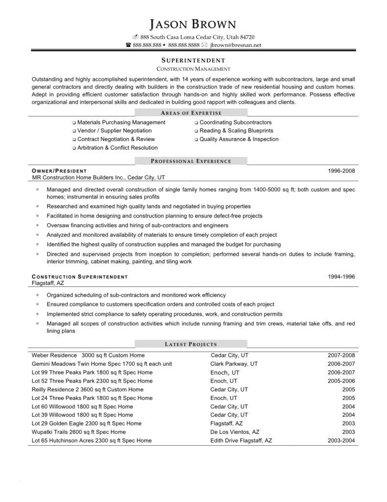 Construction Superintendent Resume Template - Construction Superintendent Resume Templates Paragraphrewriter