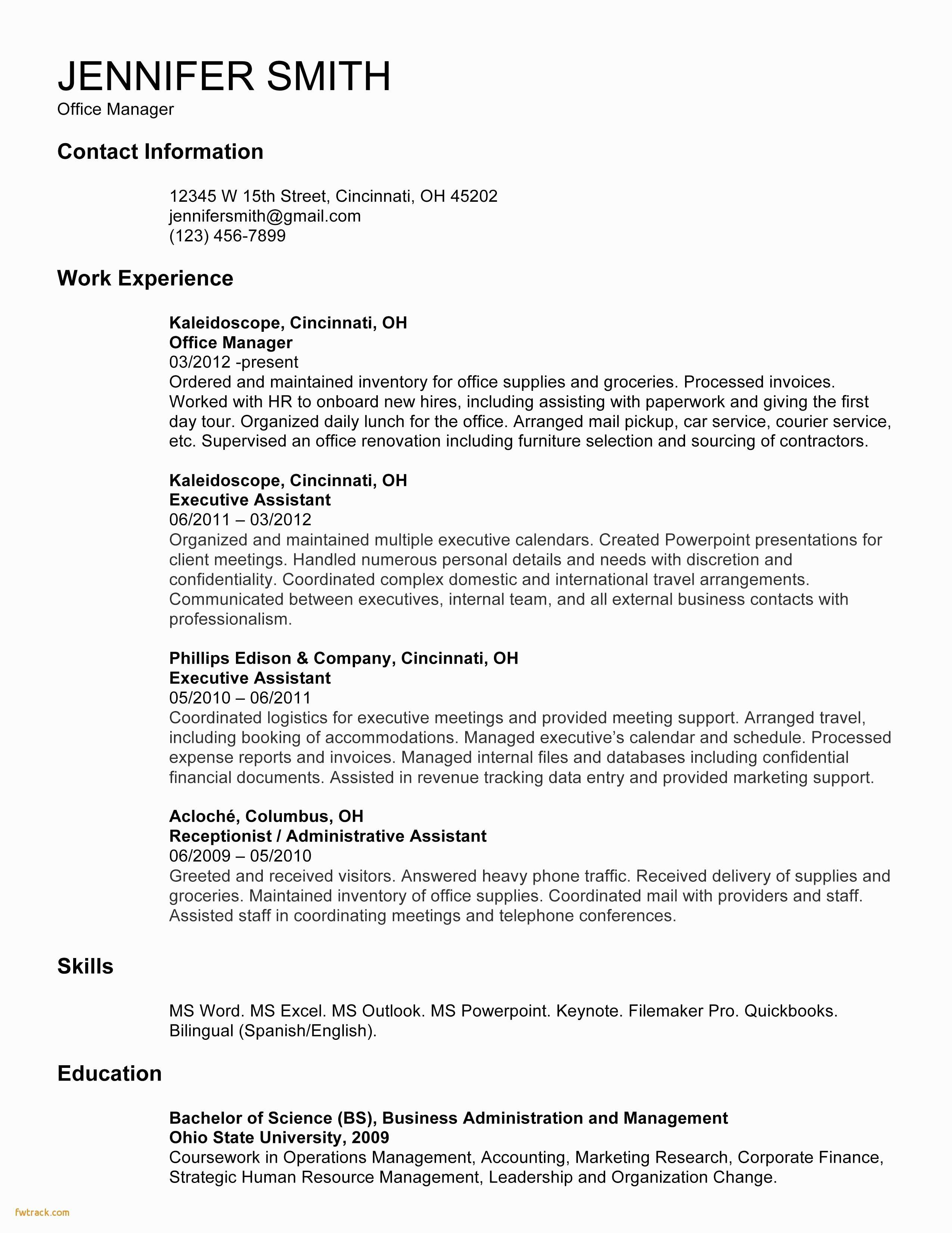 Contractor Resume Template - Contractor Resume Template Fwtrack Fwtrack
