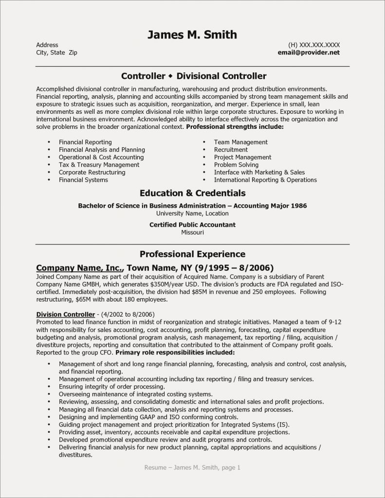 Controller Resume Template - Controller Resume New Cfo Resume Template Inspirational Actor