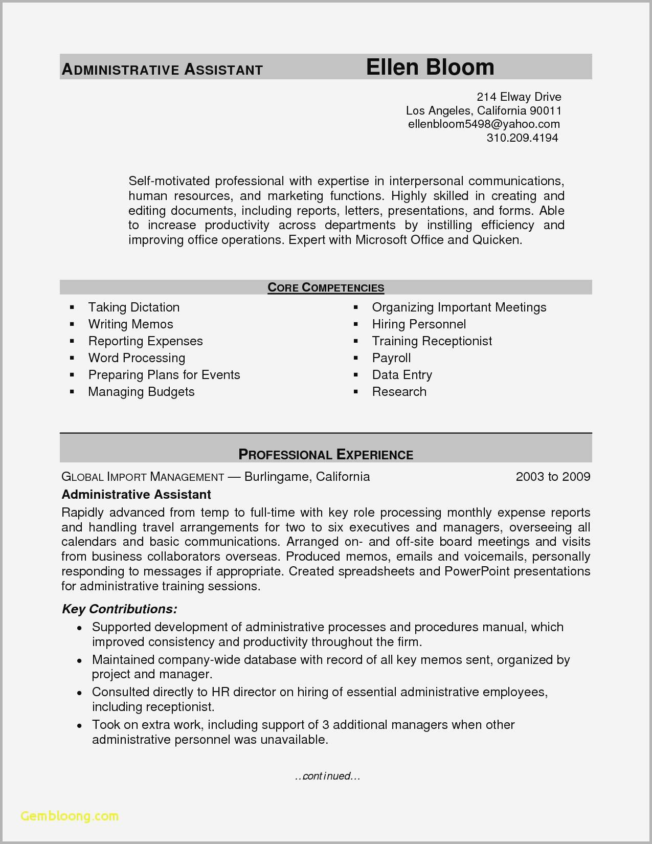Core Competencies Resume Sample - Resume Example for Administrative assistant Image Exemple De Cv