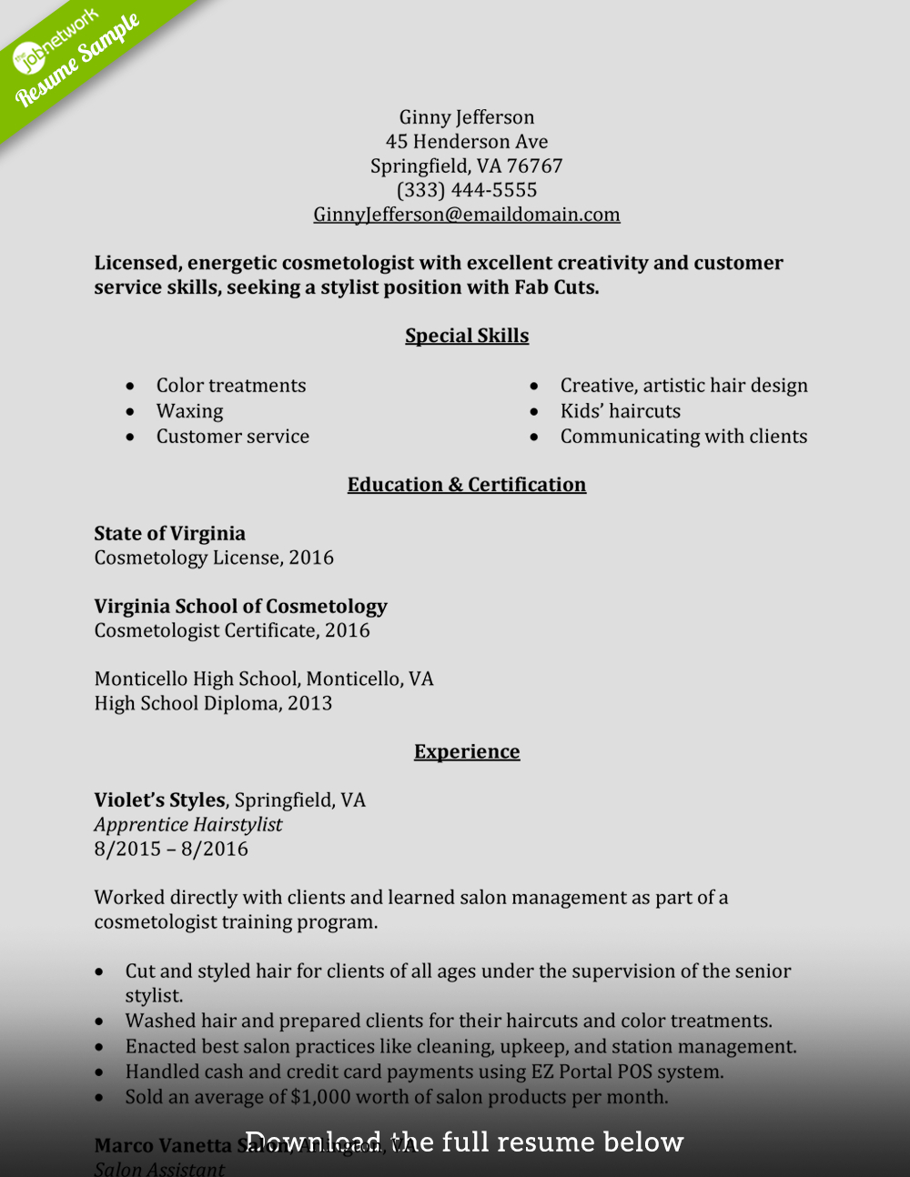 Cosmetologist Resume Template - How to Write A Perfect Cosmetology Resume Examples Included