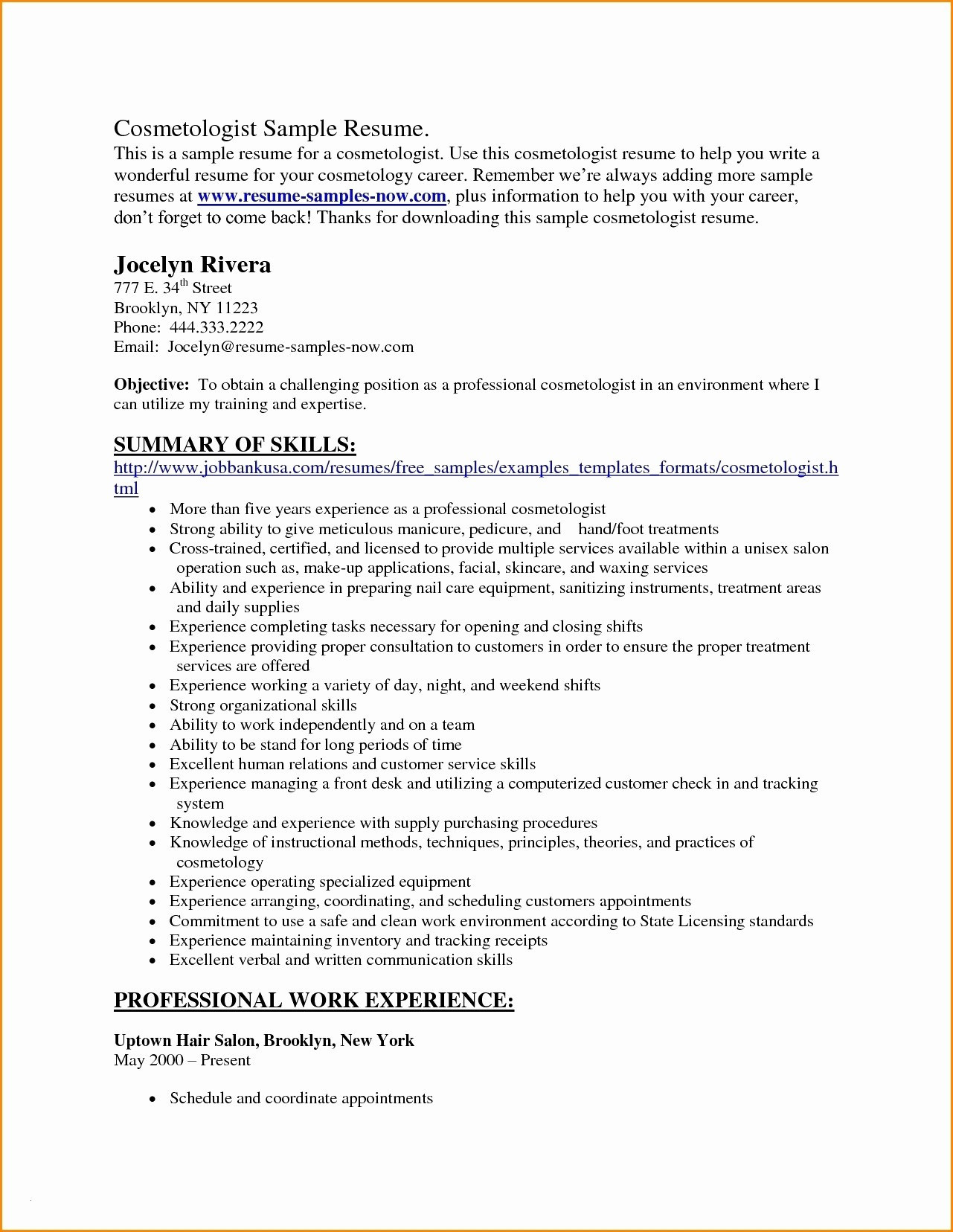 Cosmetology Resume Skills - Cosmetology Resume Templates New Template Examples Fresh 20