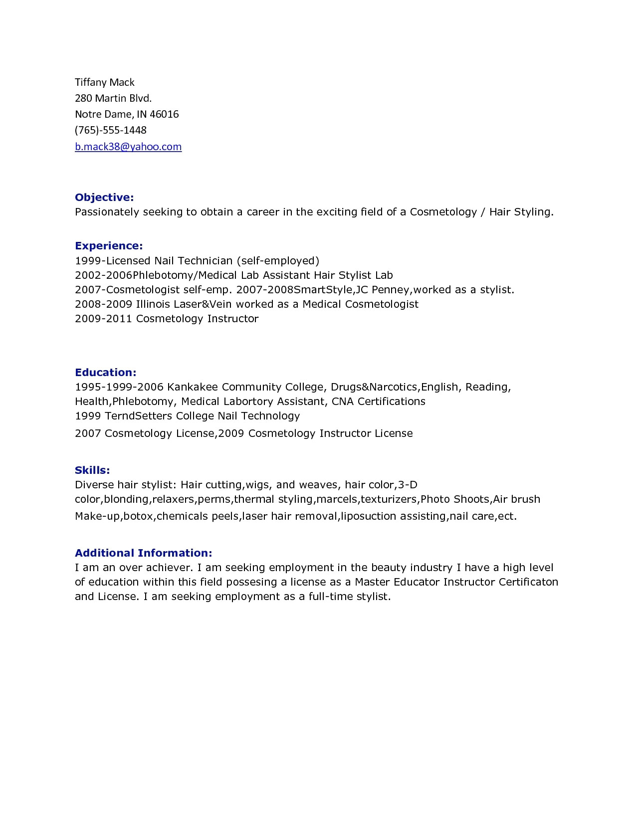 Cosmetology Resume Template - 49 Inspirational Information Technology Resume