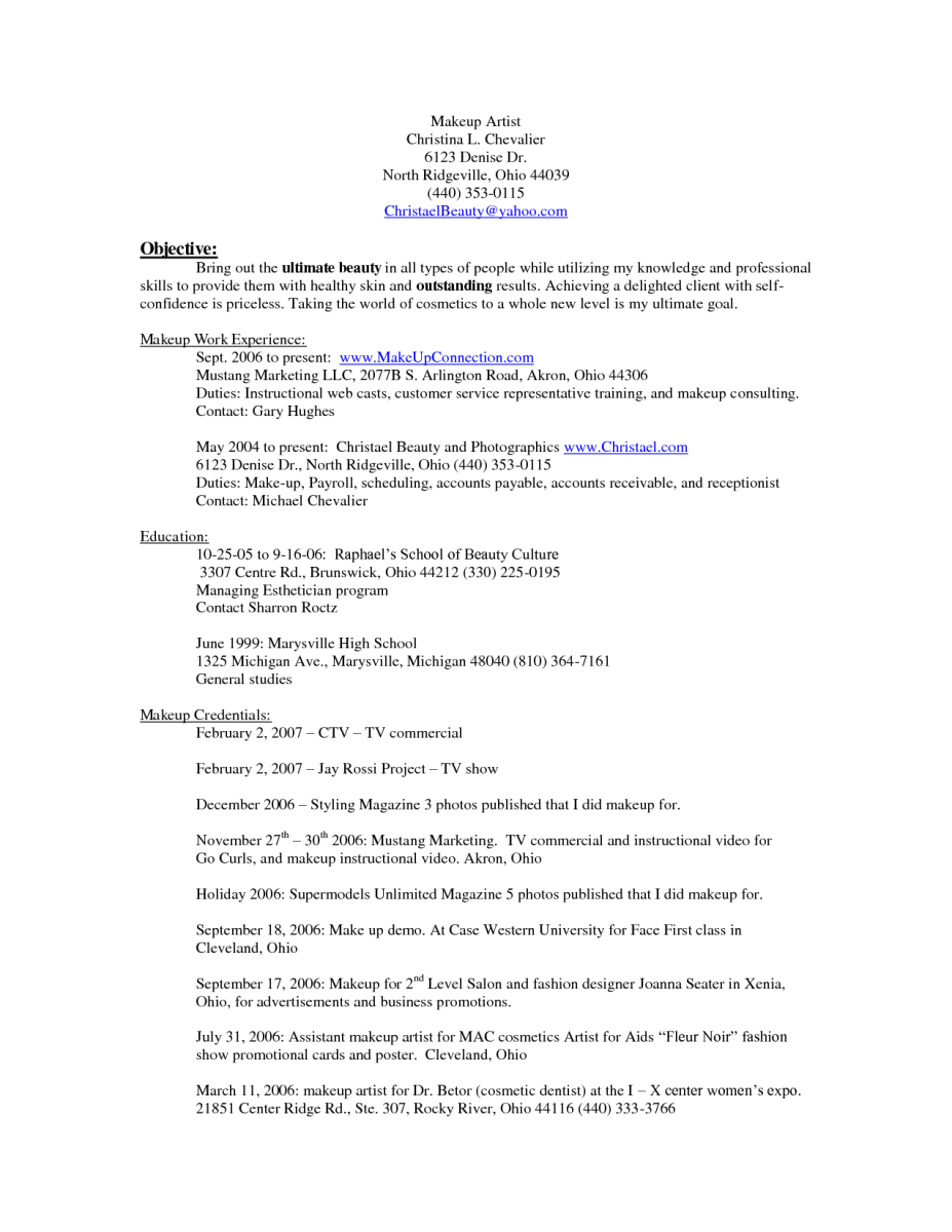 Cosmetology Resume Template Free - 10 Makeup Artist Resume Examples Sample Resumes