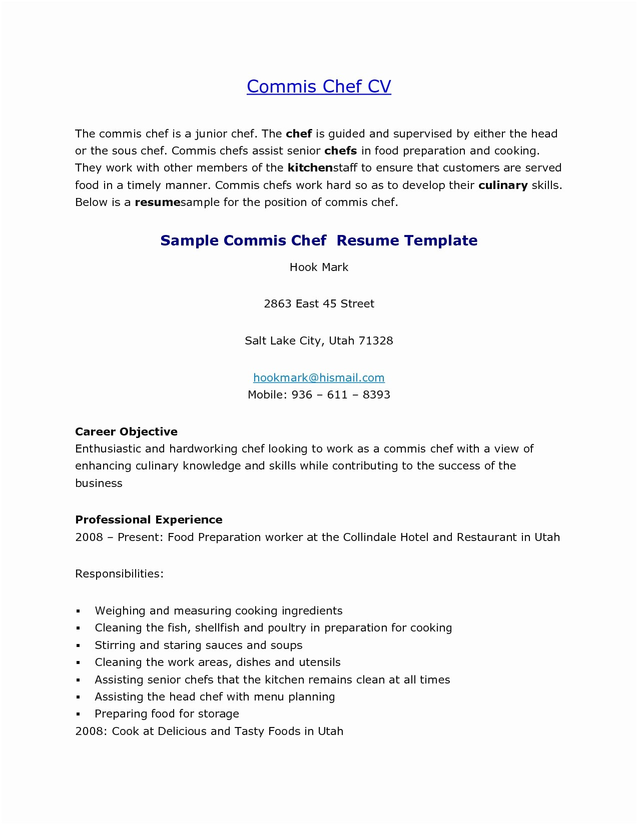 Culinary Resume Template - Sample Chef Resume