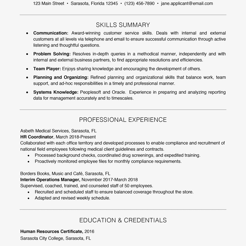 Customer Service Manager Job Description for Resume - Resume Example with A Key Skills Section