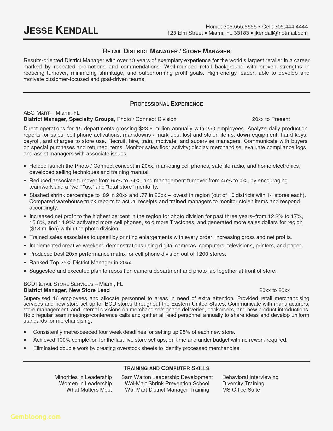 Customer Service Manager Resume Template - Retail Store Manager Sample Resume