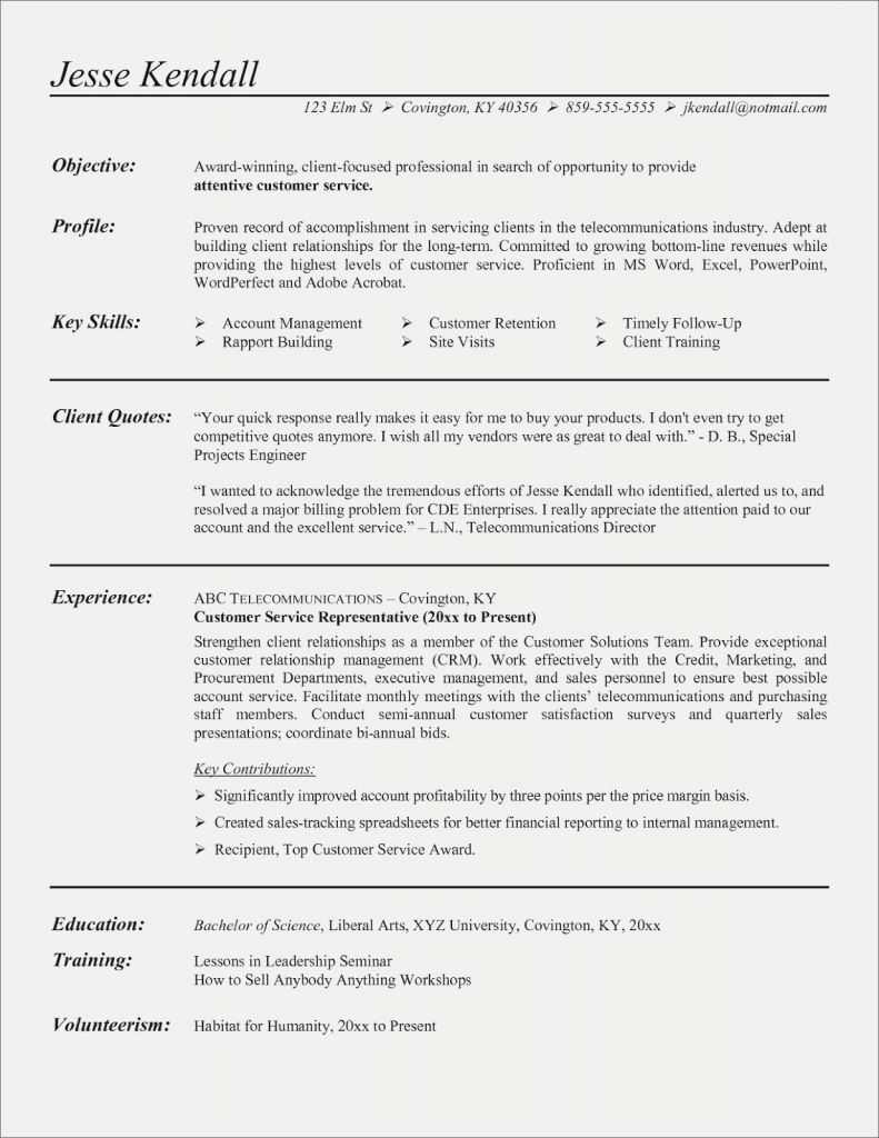 Customer Service Resume Samples Free - Resume Templates for Customer Service Best Customer Service Resume