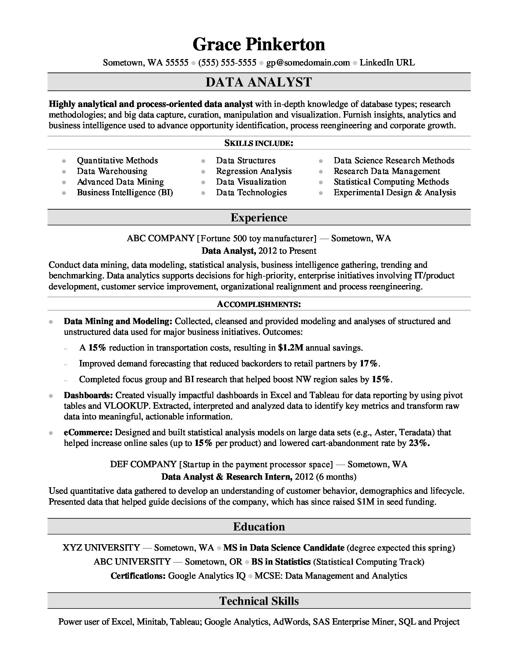 Data Analysis Resume - 20 New Data Analyst Resume Sample