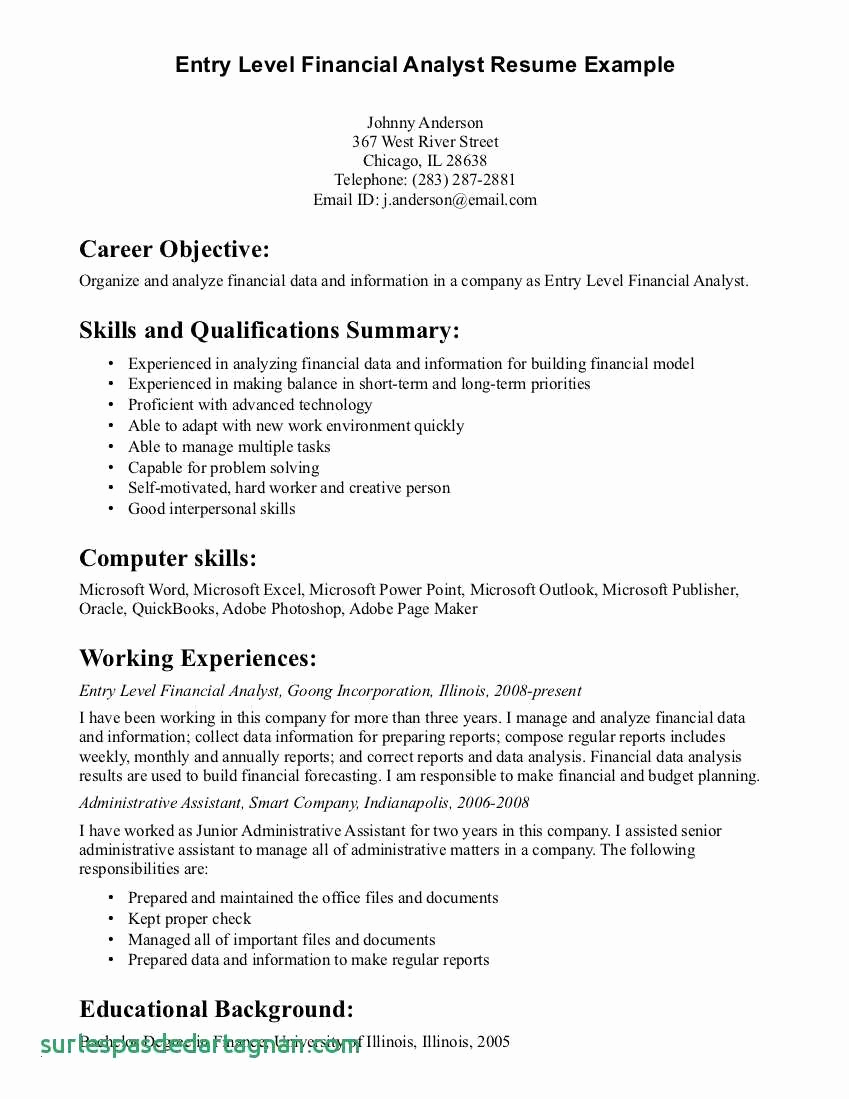 Data Analyst Resume Entry Level - 30 Sample Financial Analyst Resume