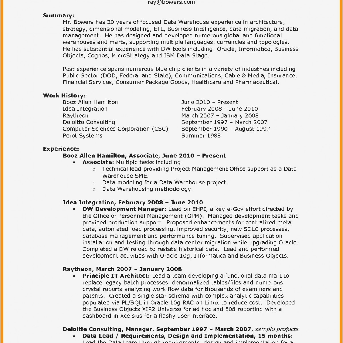 Data Warehouse Resume - Types Resumes Functional Magnificent Example A Functional Resume