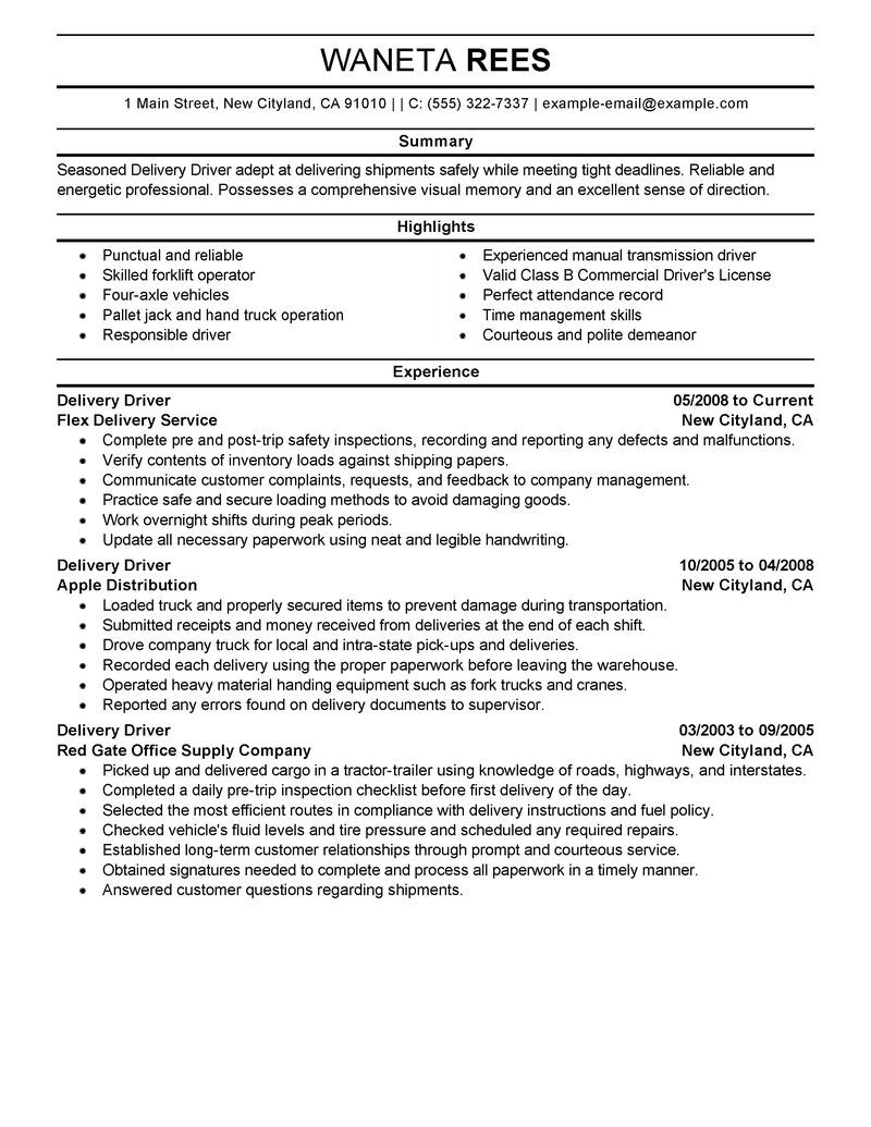 Delivery Driver Resume Examples - Resume Driving Resume Samples Delivery Driver Examples Resumes