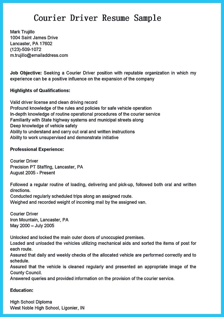 Delivery Driver Resume Examples - Pin On Resume Template Pinterest