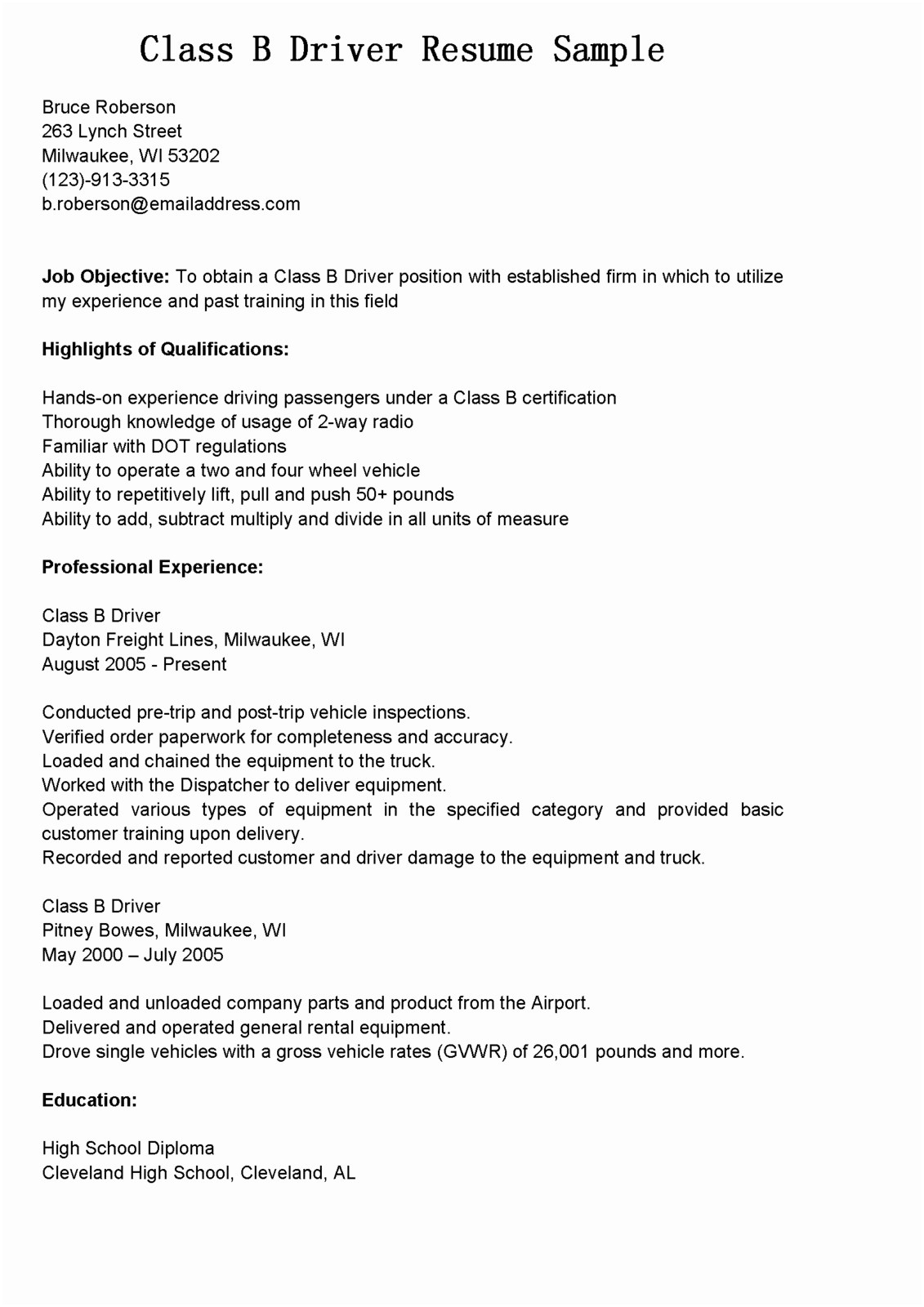 Delivery Driver Resume Examples - Sample Resume for Driver Delivery